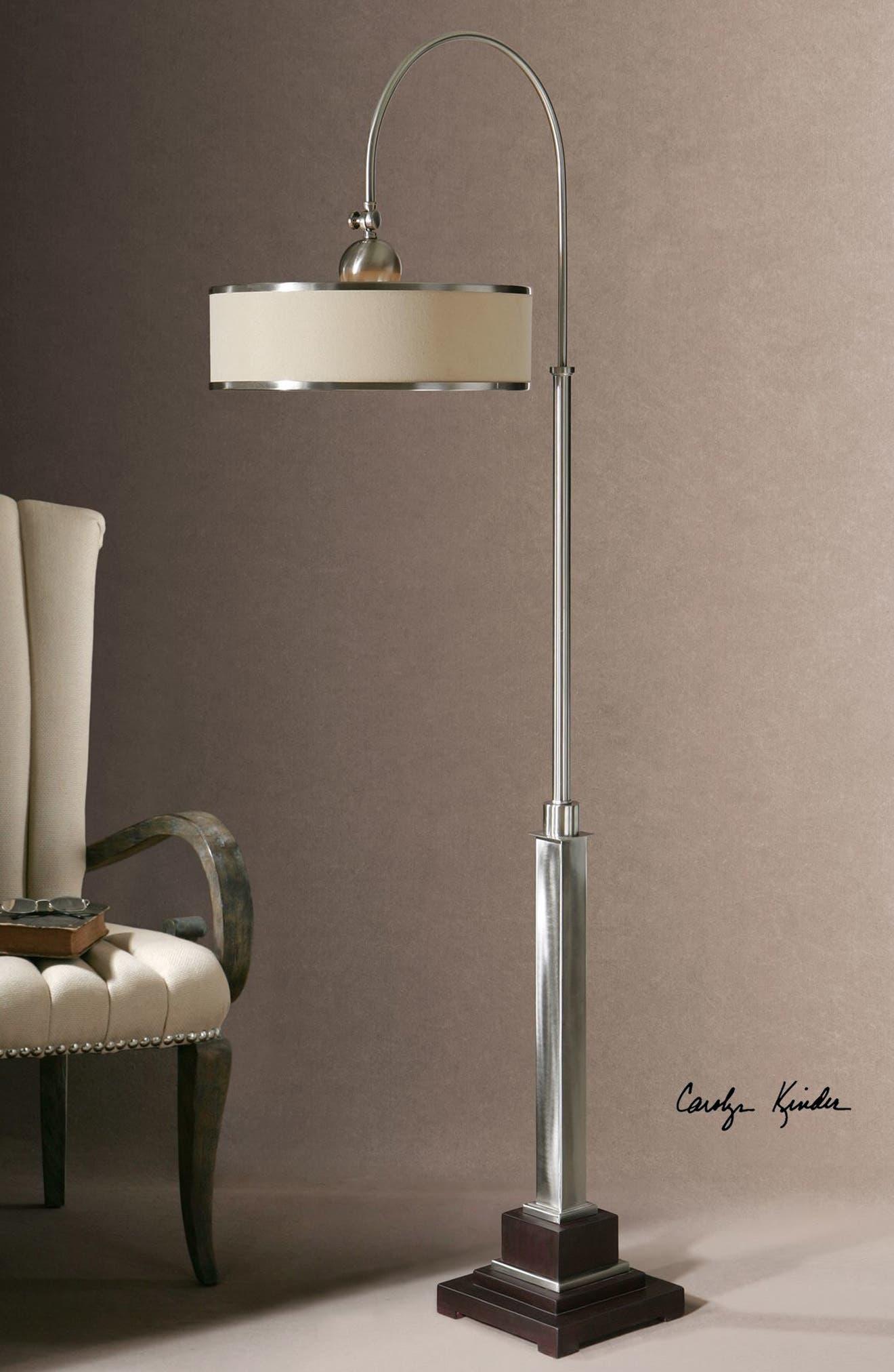 'Amerigo' Brushed Aluminum Floor Lamp,                             Alternate thumbnail 2, color,