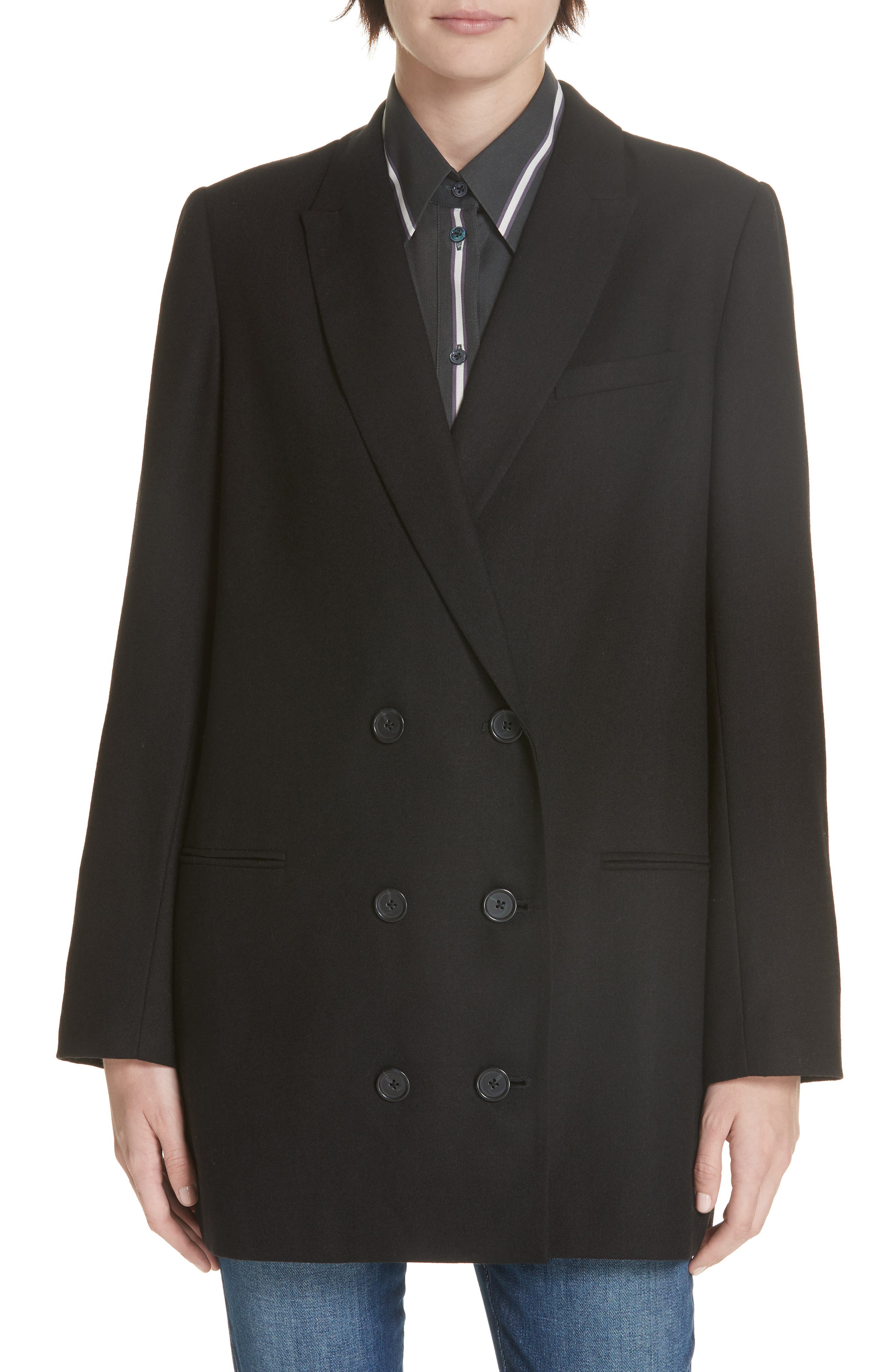 Norden Double Breasted Wool Jacket, Main, color, 001