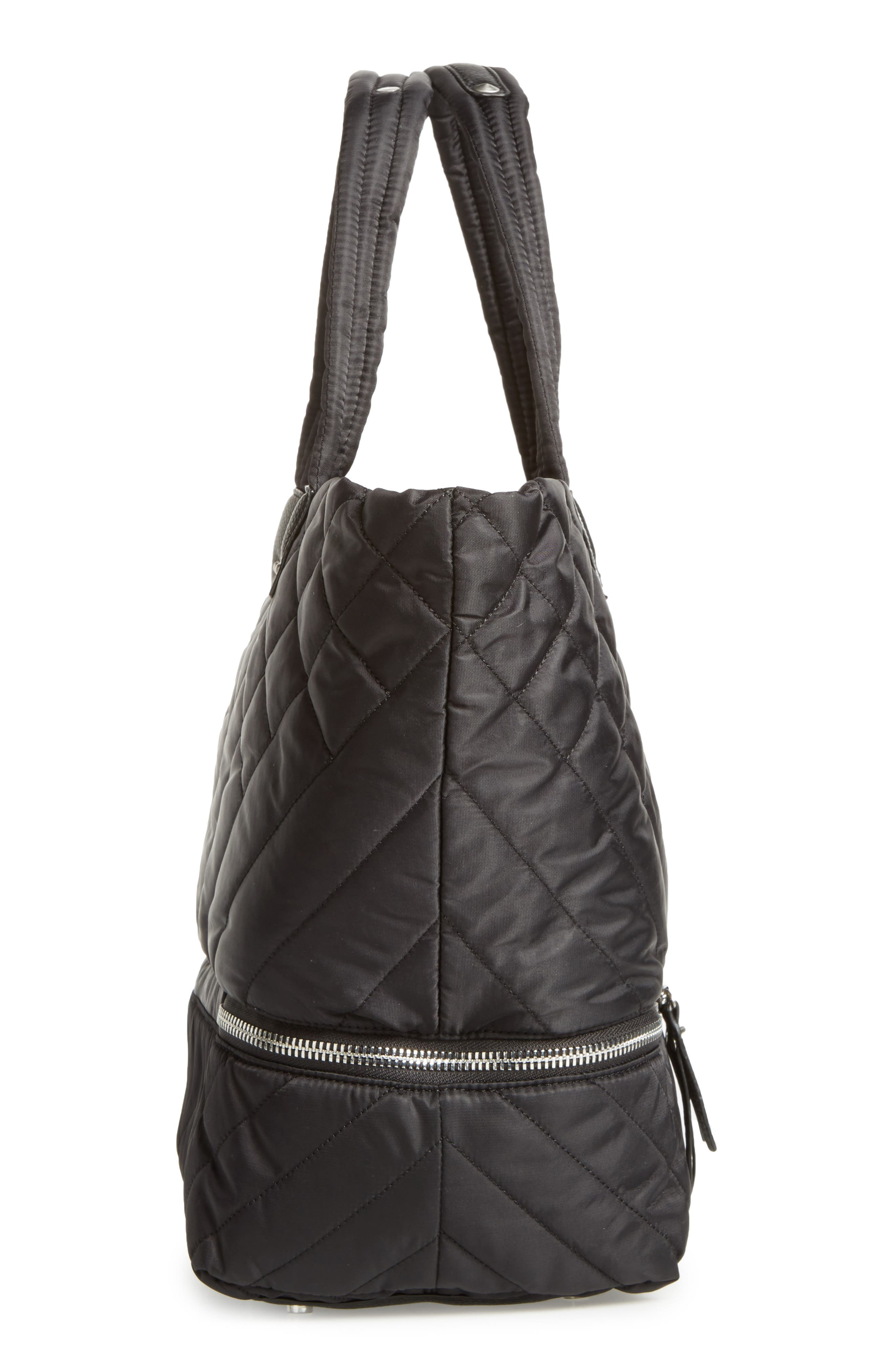 Arianna Quilted Nylon Tote,                             Alternate thumbnail 5, color,                             001