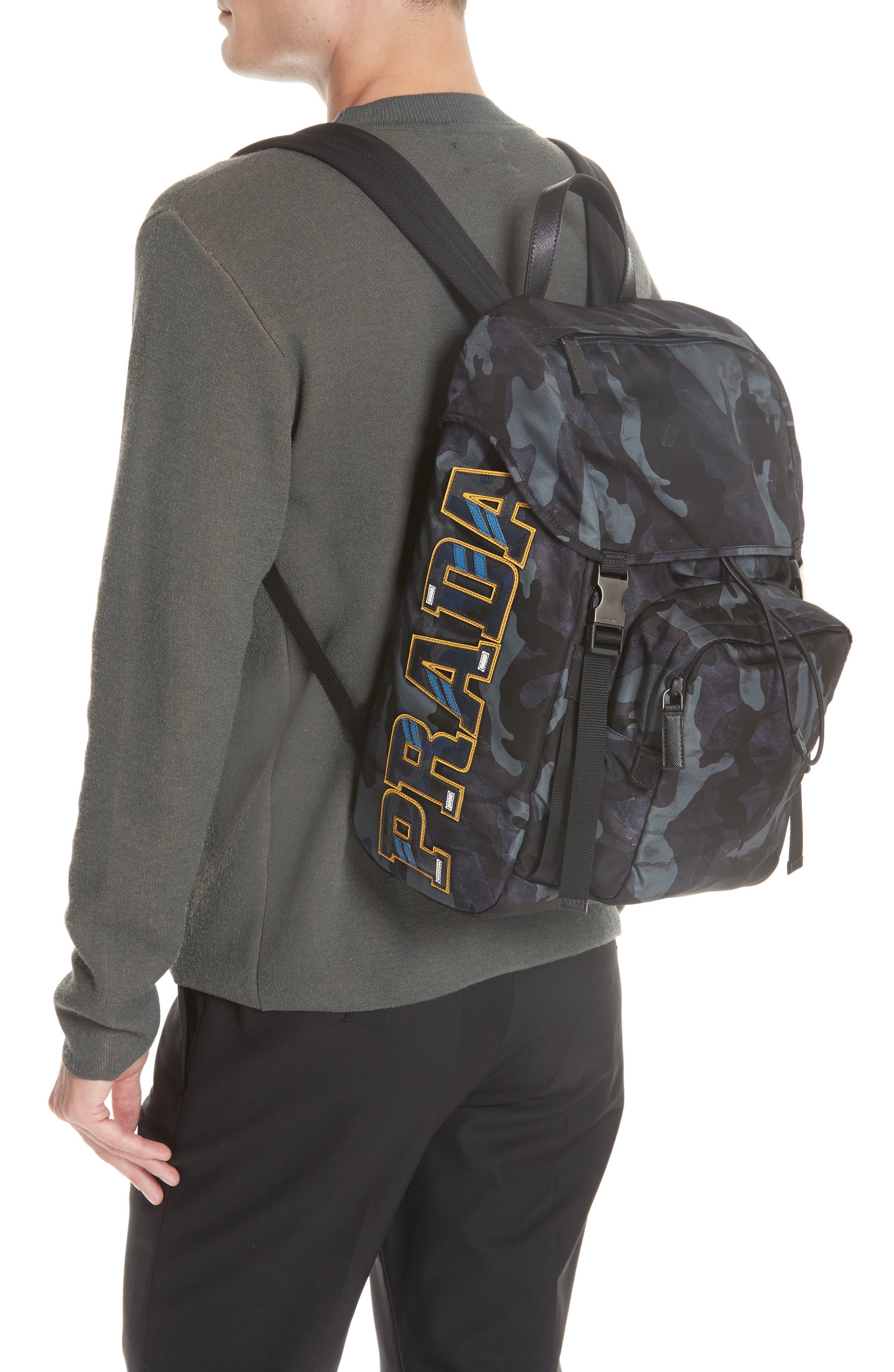 Tessuto Camo Nylon Backpack,                             Alternate thumbnail 2, color,                             BLACK