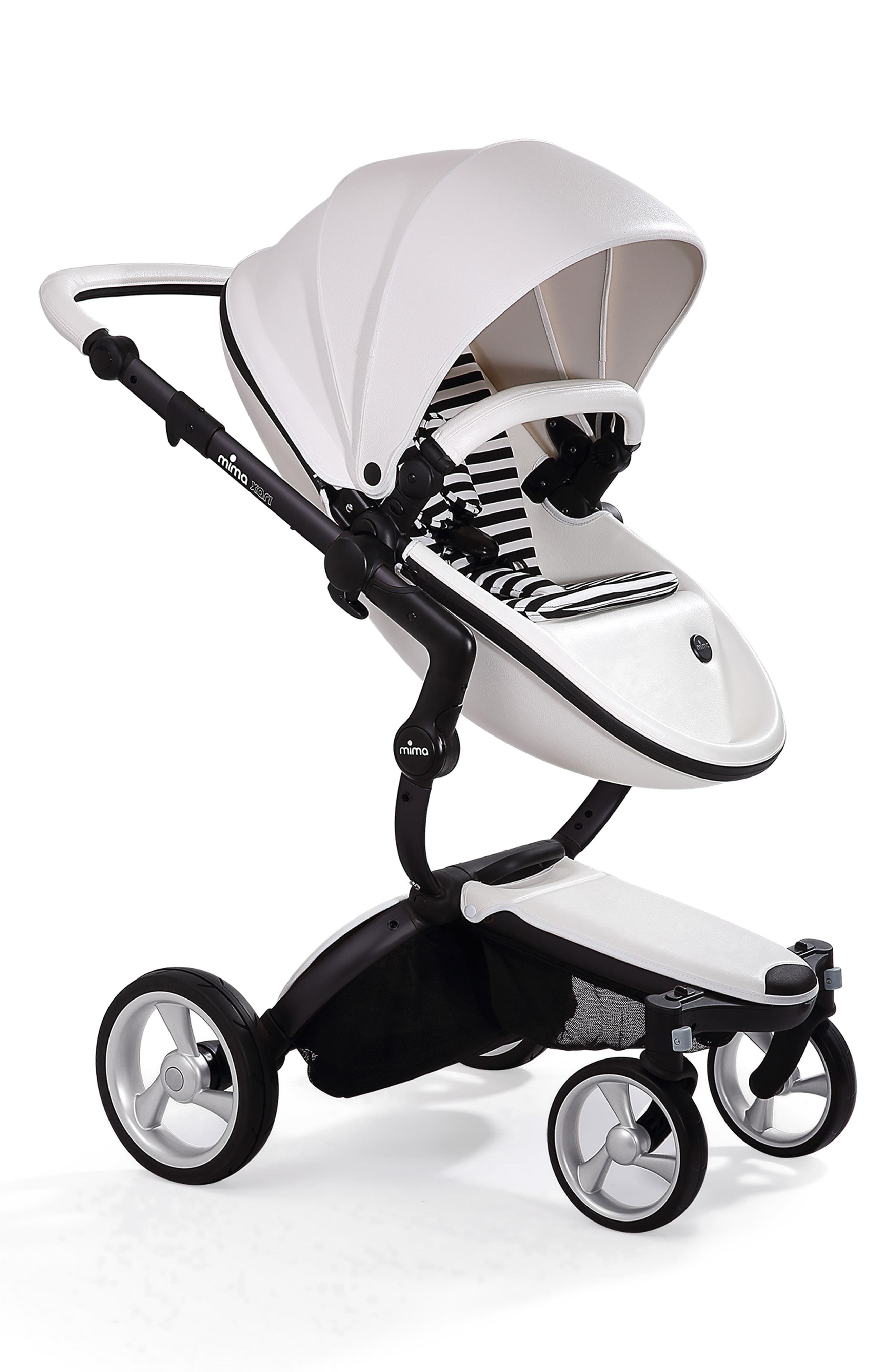 MIMA,                             Xari Black Chassis Stroller with Reversible Reclining Seat & Carrycot,                             Main thumbnail 1, color,                             SNOW WHITE/ BLACK AND WHITE