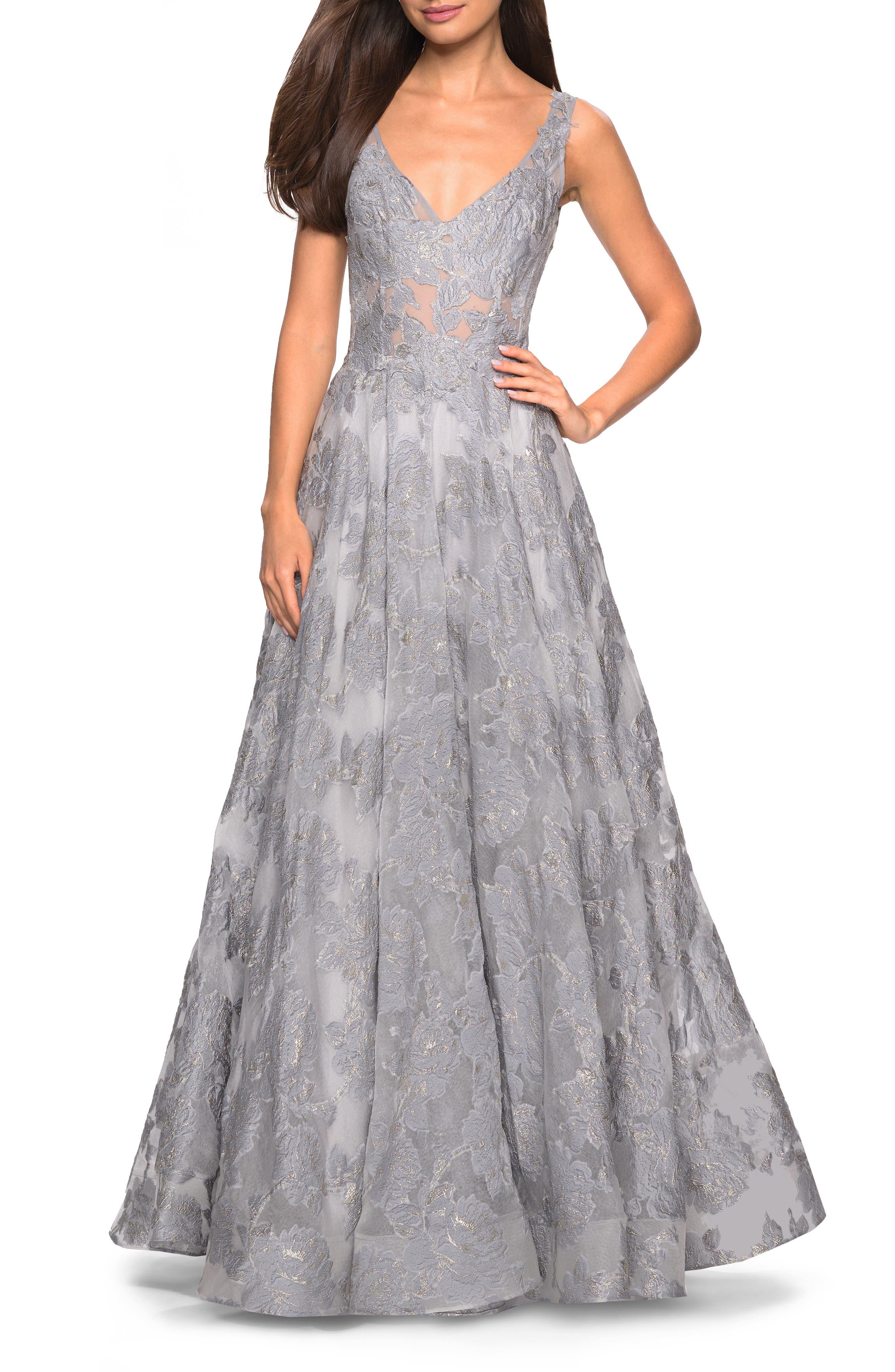 LA FEMME,                             Lace A-Line Evening Dress,                             Main thumbnail 1, color,                             SILVER