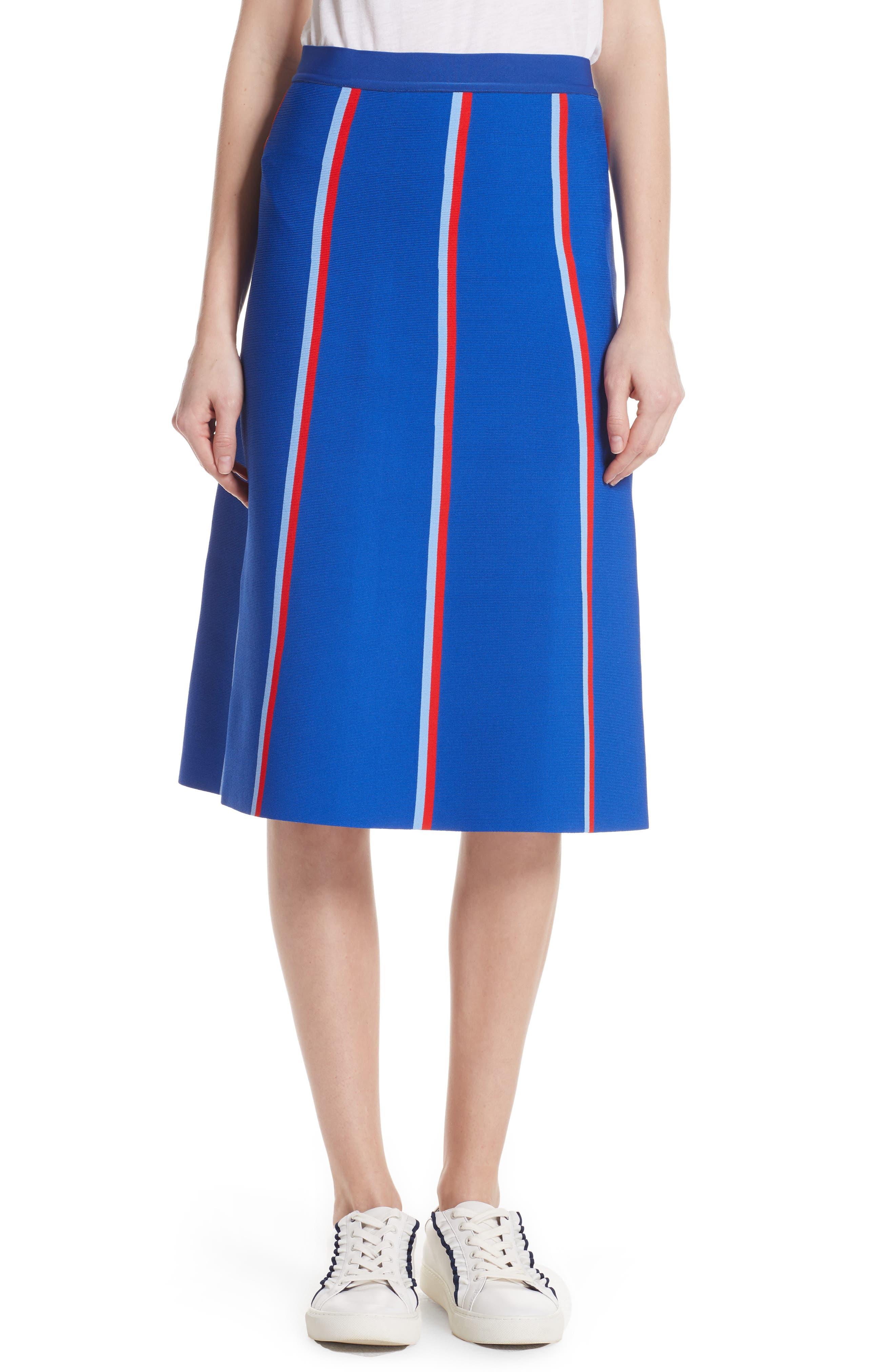 Twin Stripe Tech Knit Skirt,                             Main thumbnail 1, color,                             SLALOM BLUE