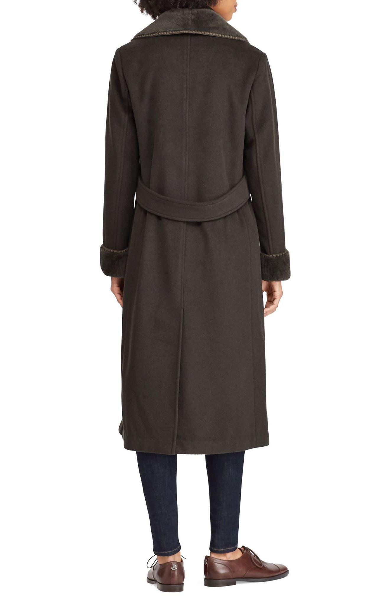 Wool Blend Faux Shearling Trim Coat,                             Alternate thumbnail 2, color,                             MILITARY GREEN
