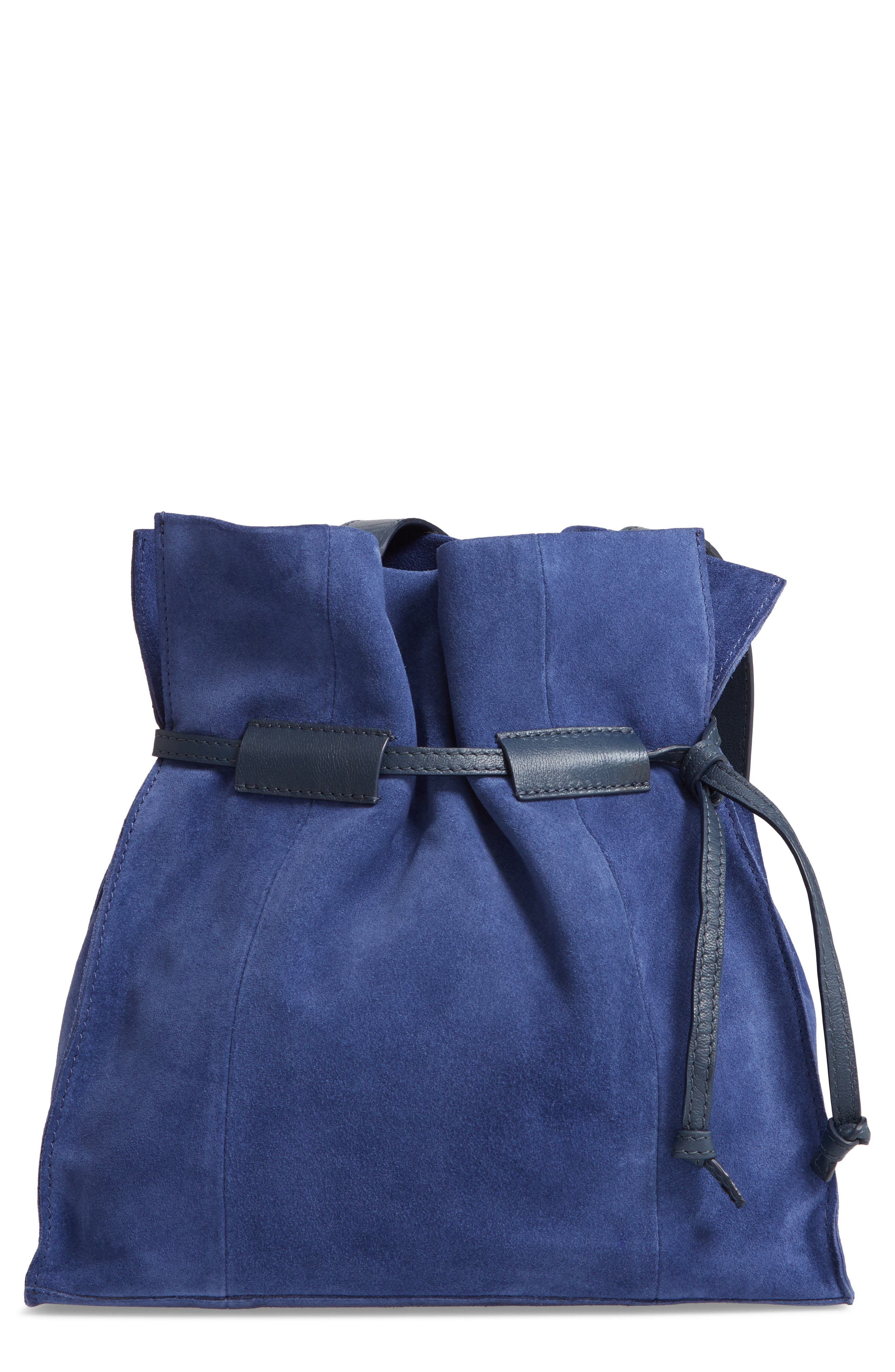 Pull String Faux Leather Bucket Bag,                             Main thumbnail 1, color,                             BLUE