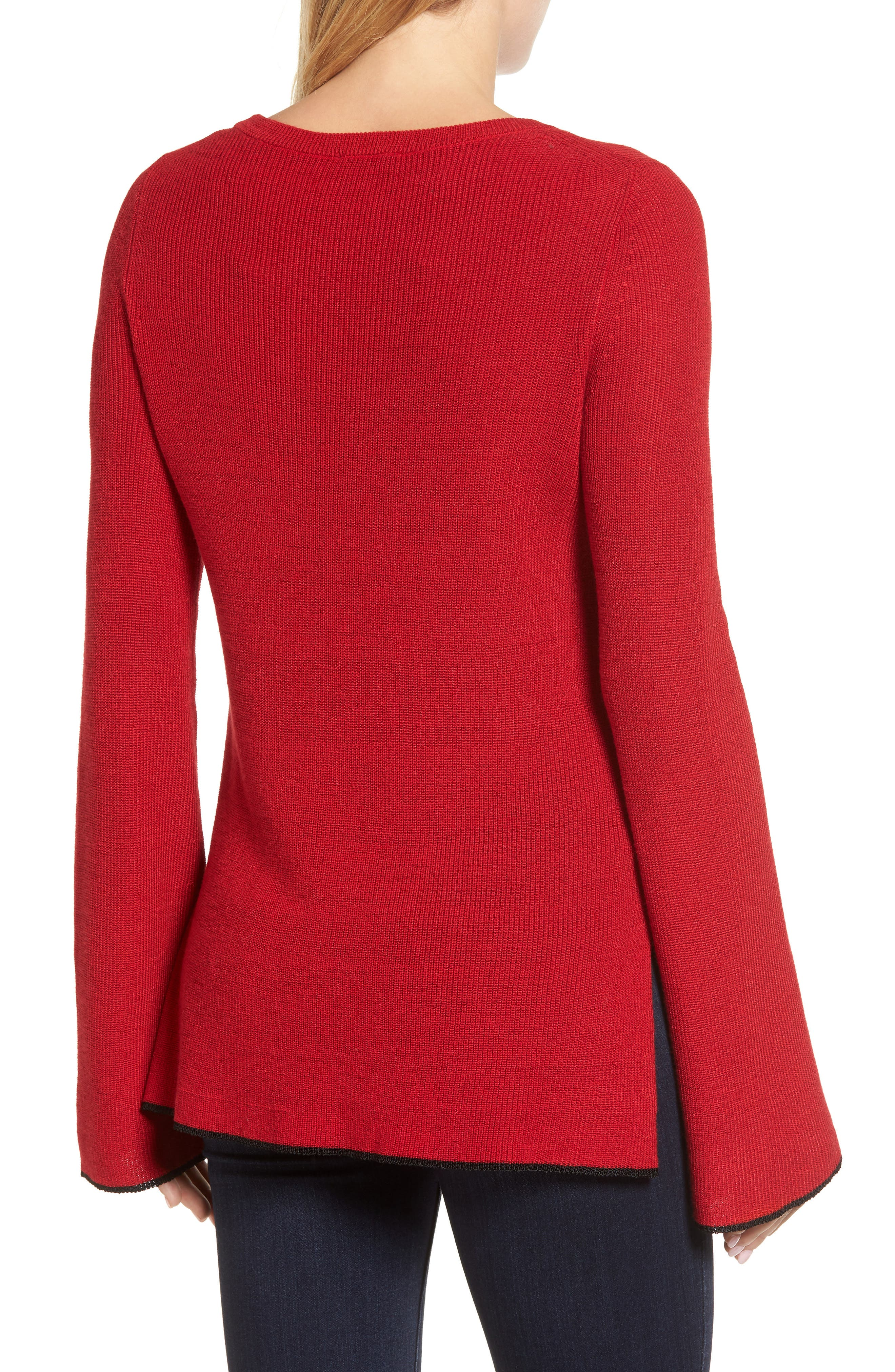 Tipped Bell Sleeve Sweater,                             Alternate thumbnail 13, color,