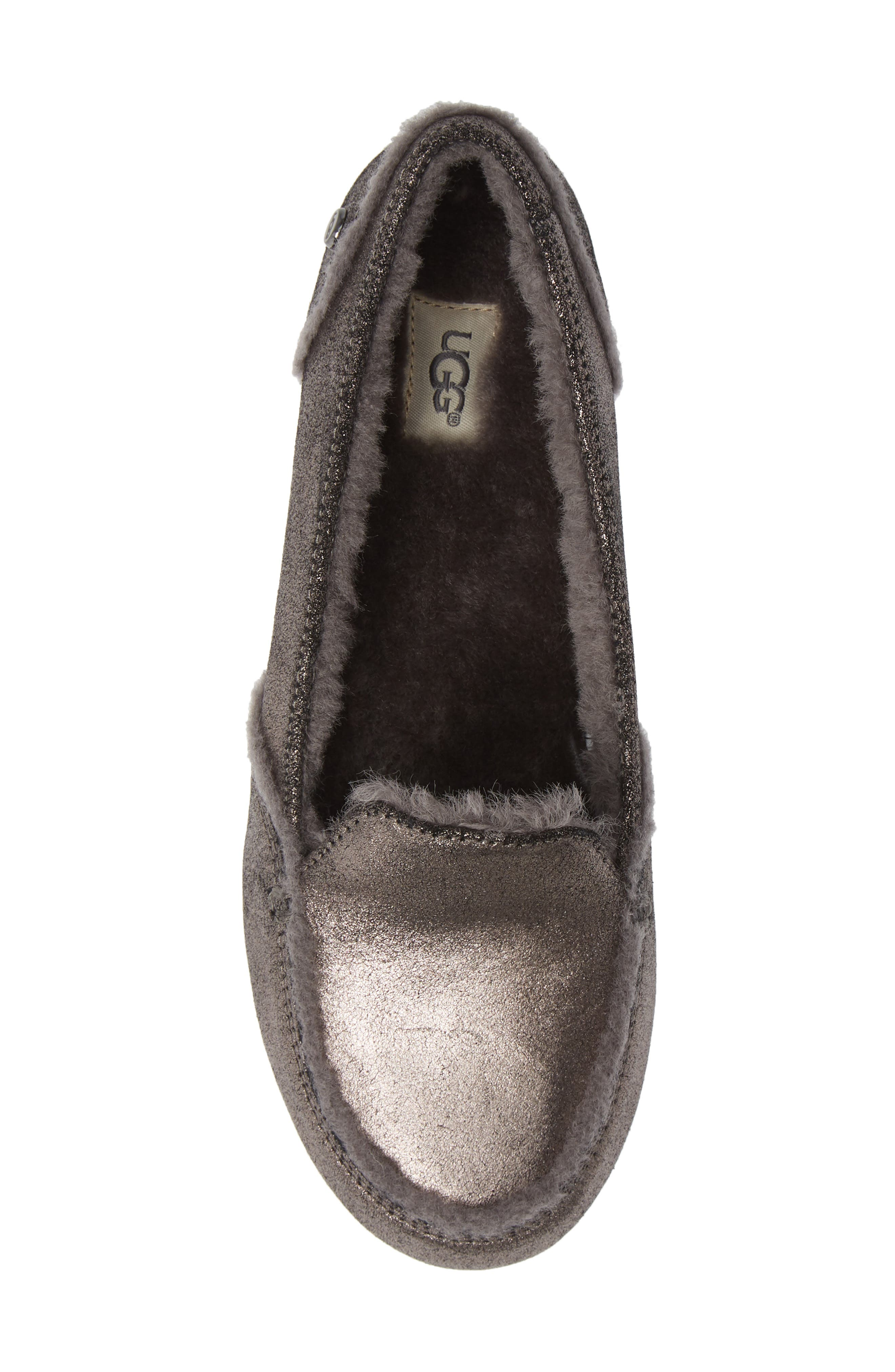 Hailey Metallic Slipper,                             Alternate thumbnail 5, color,                             GUNMETAL