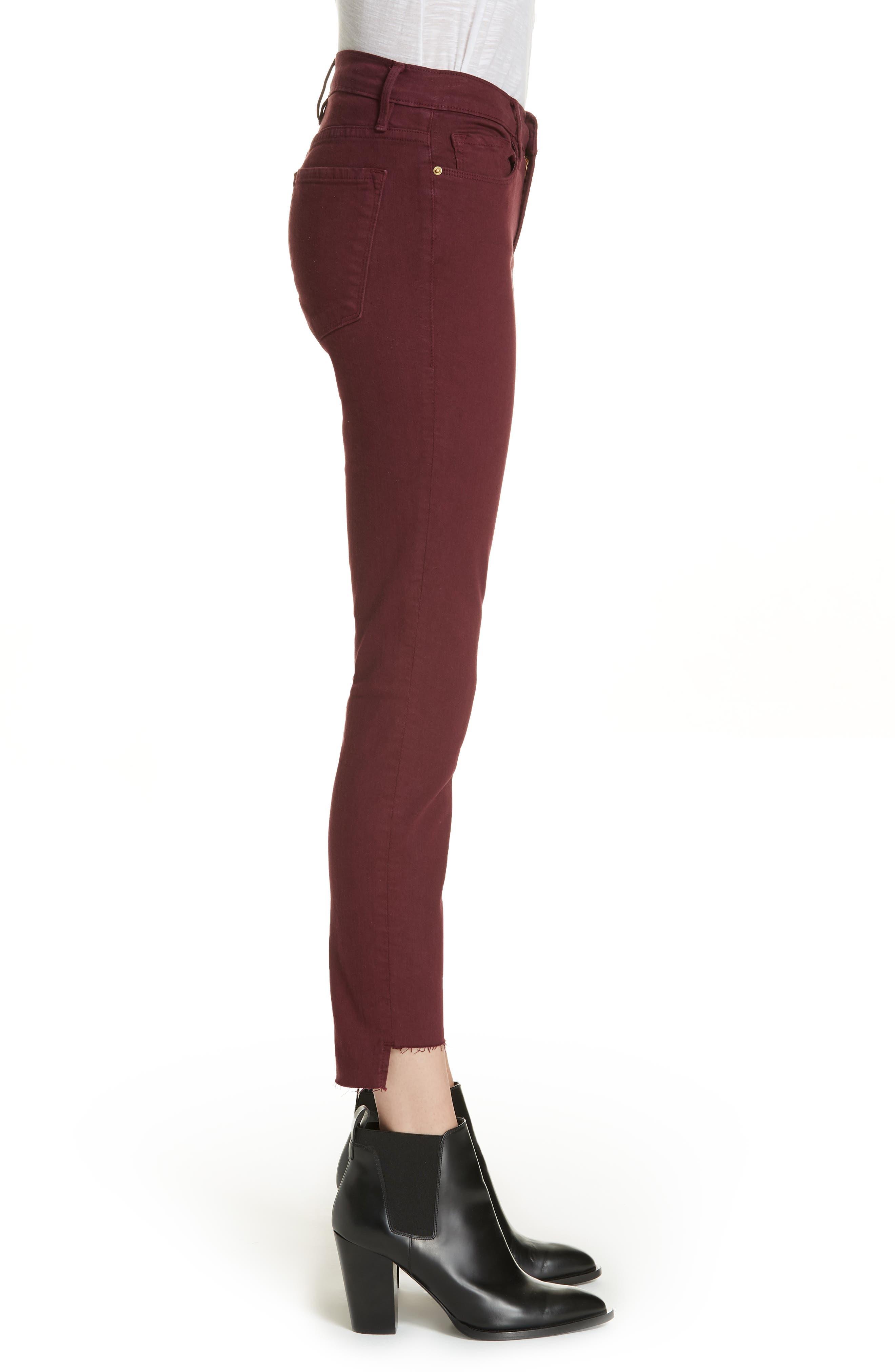 Le Skinny de Jeanne Raw Stagger Hem Jeans,                             Alternate thumbnail 3, color,                             PINOT