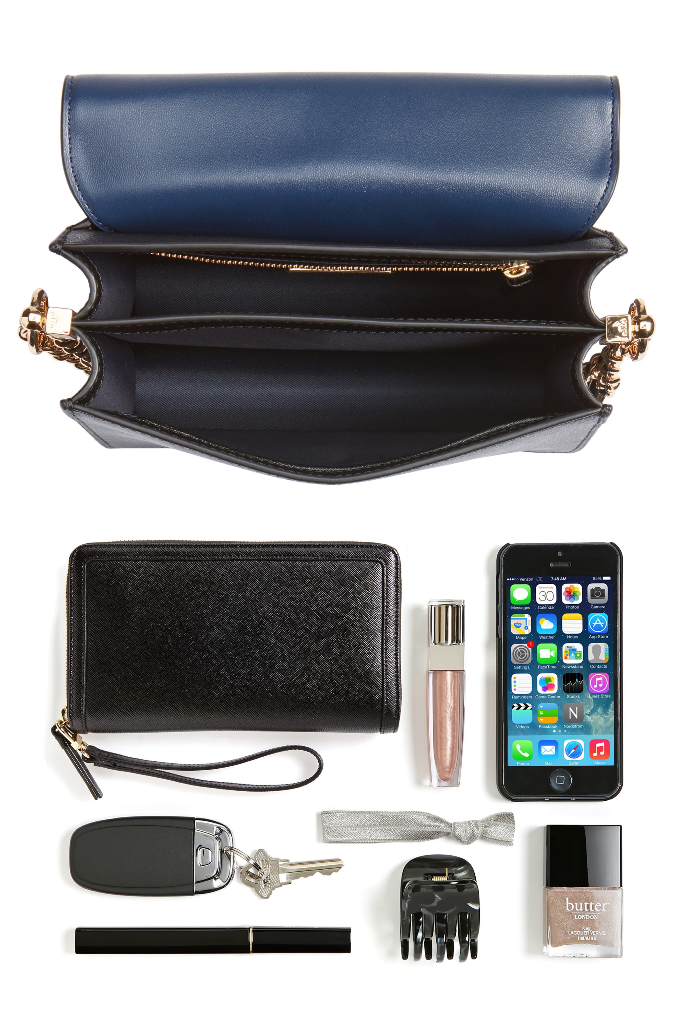 Robinson Convertible Leather Shoulder Bag,                             Alternate thumbnail 7, color,                             BLACK / ROYAL NAVY