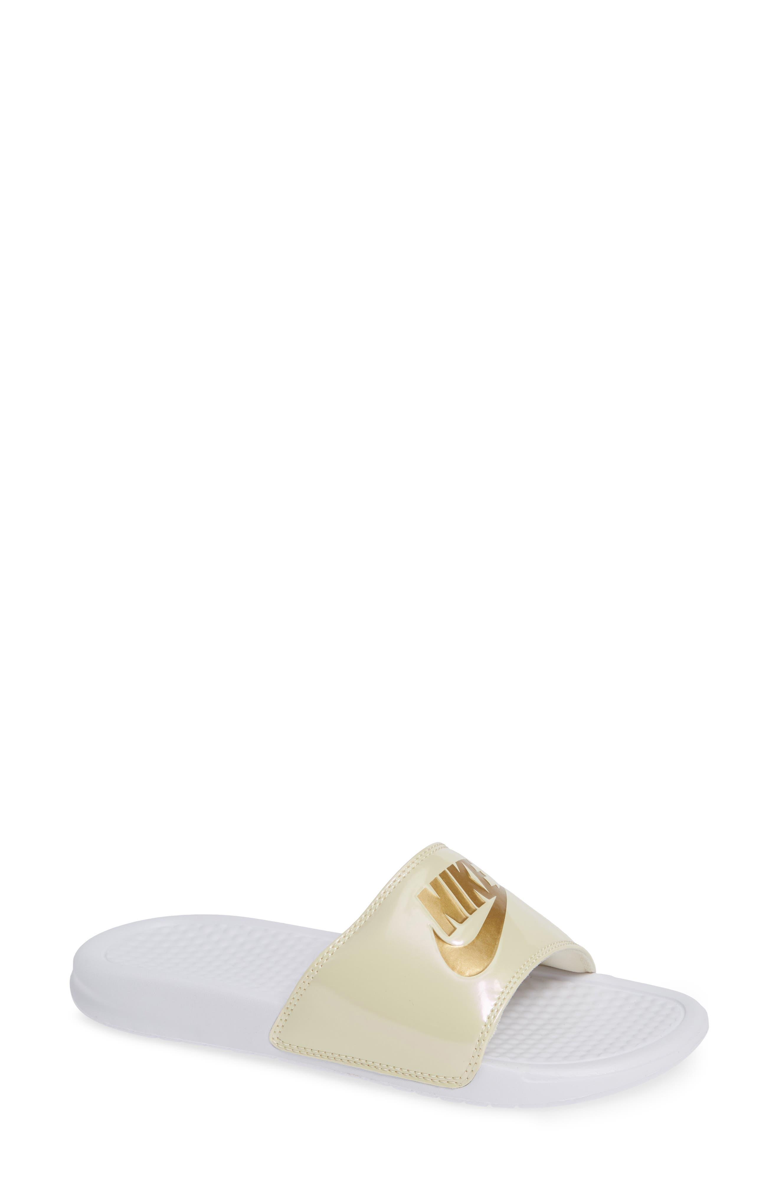Benassi Just Do It Print Sandal,                         Main,                         color, WHITE/ METALLIC GOLD/ BEACH