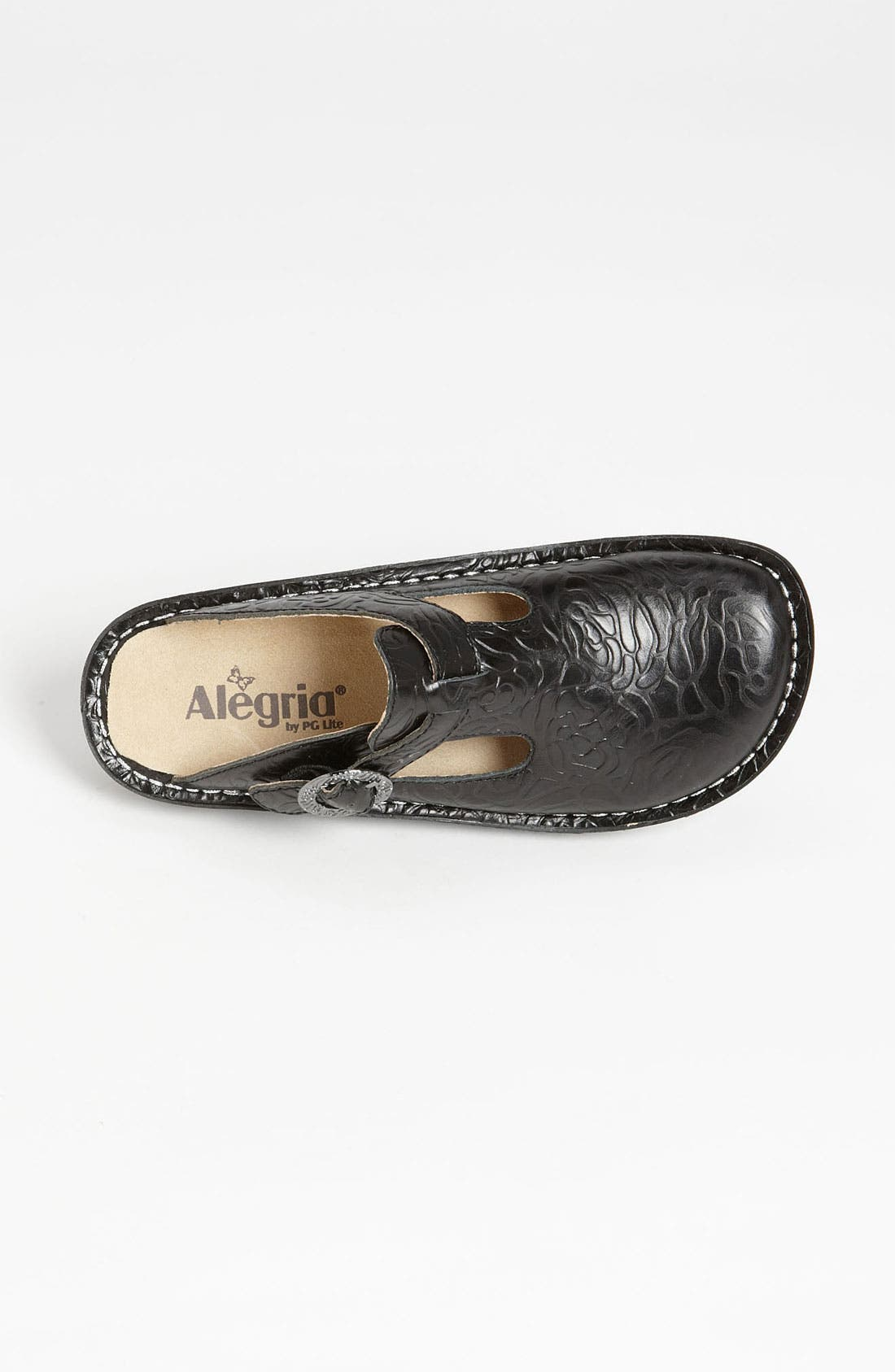 'Classic' Clog,                             Alternate thumbnail 3, color,                             BLACK EMBOSSED ROSE LEATHER