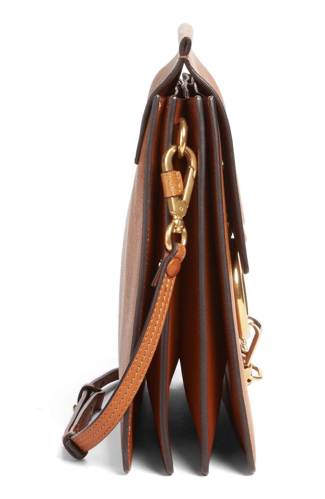 Faye Goatskin Leather Shoulder Bag,                             Alternate thumbnail 5, color,