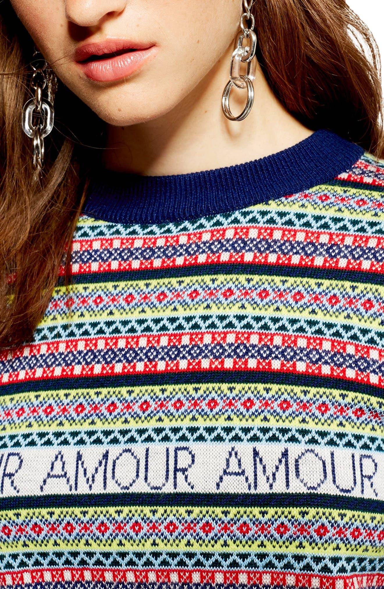 Amour Fair Isle Sweater,                             Alternate thumbnail 3, color,                             NAVY BLUE MULTI