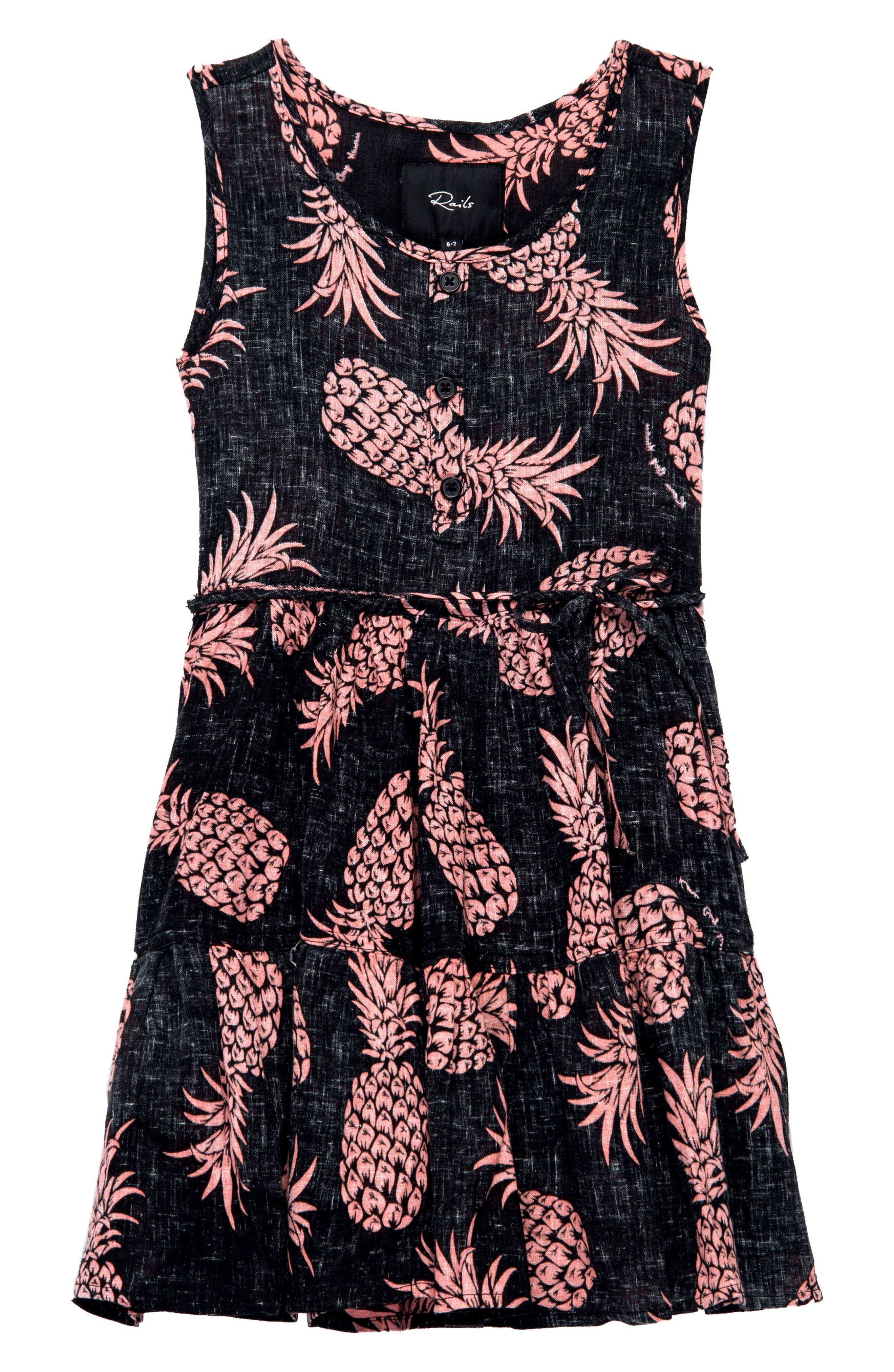 Katie Pineapple Print Dress,                             Main thumbnail 1, color,                             006