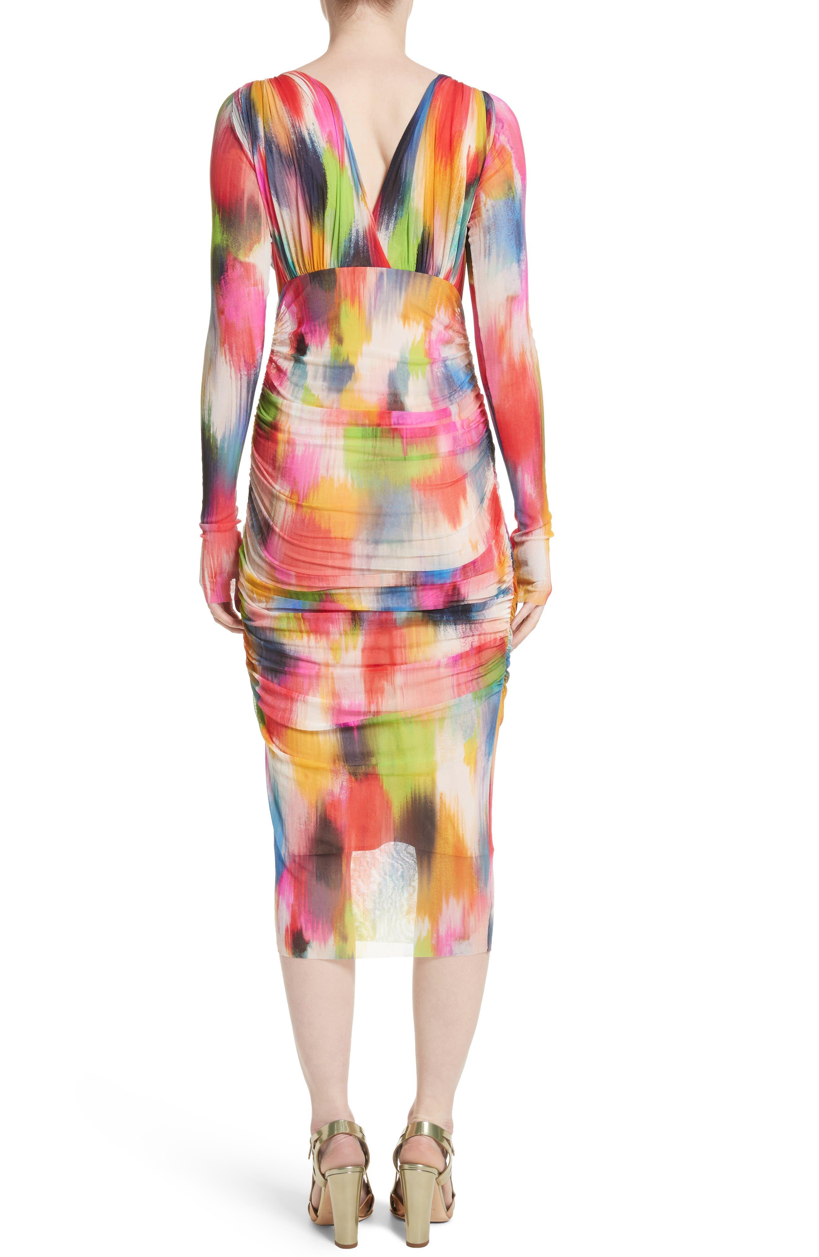 Brushstroke Print Tulle Ruched Dress,                             Alternate thumbnail 2, color,                             640