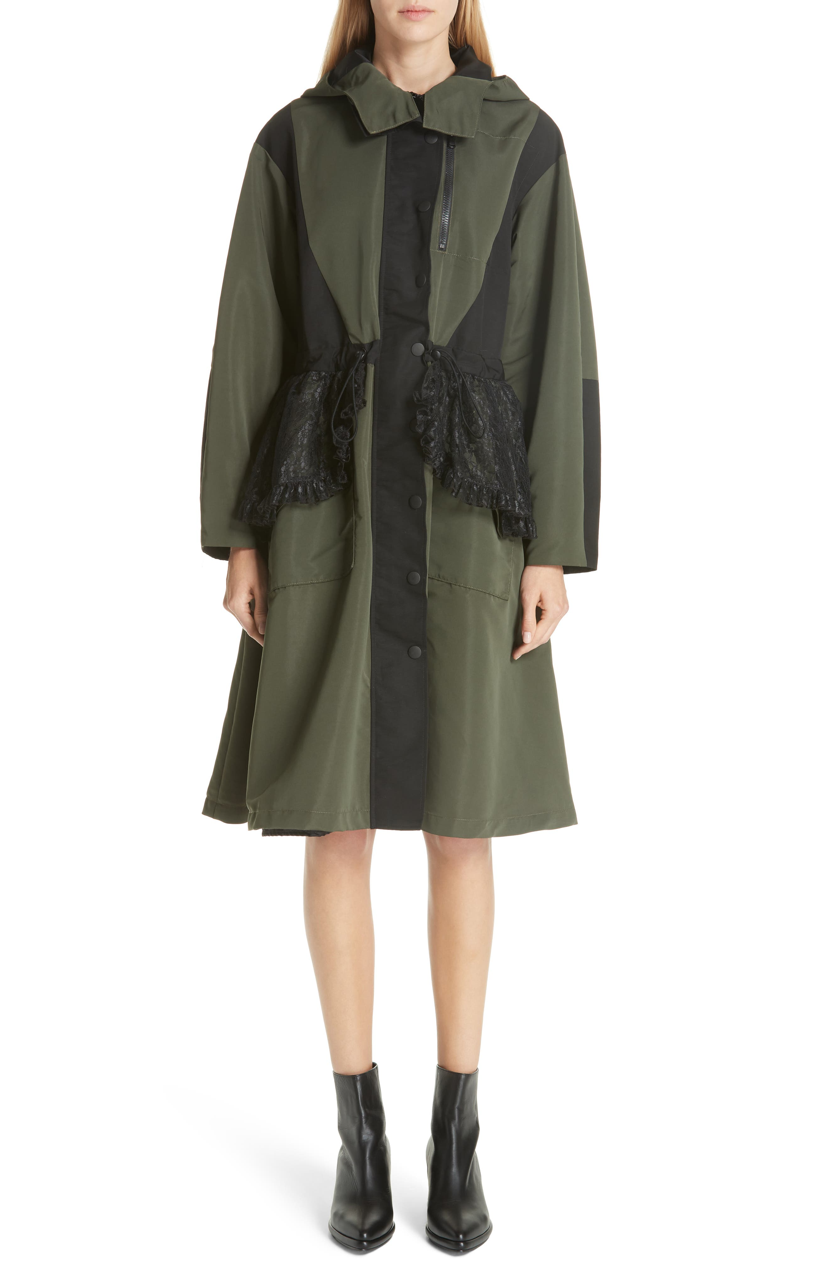 Lace Overlay Hooded Coat,                             Main thumbnail 1, color,                             OLIVE BLACK