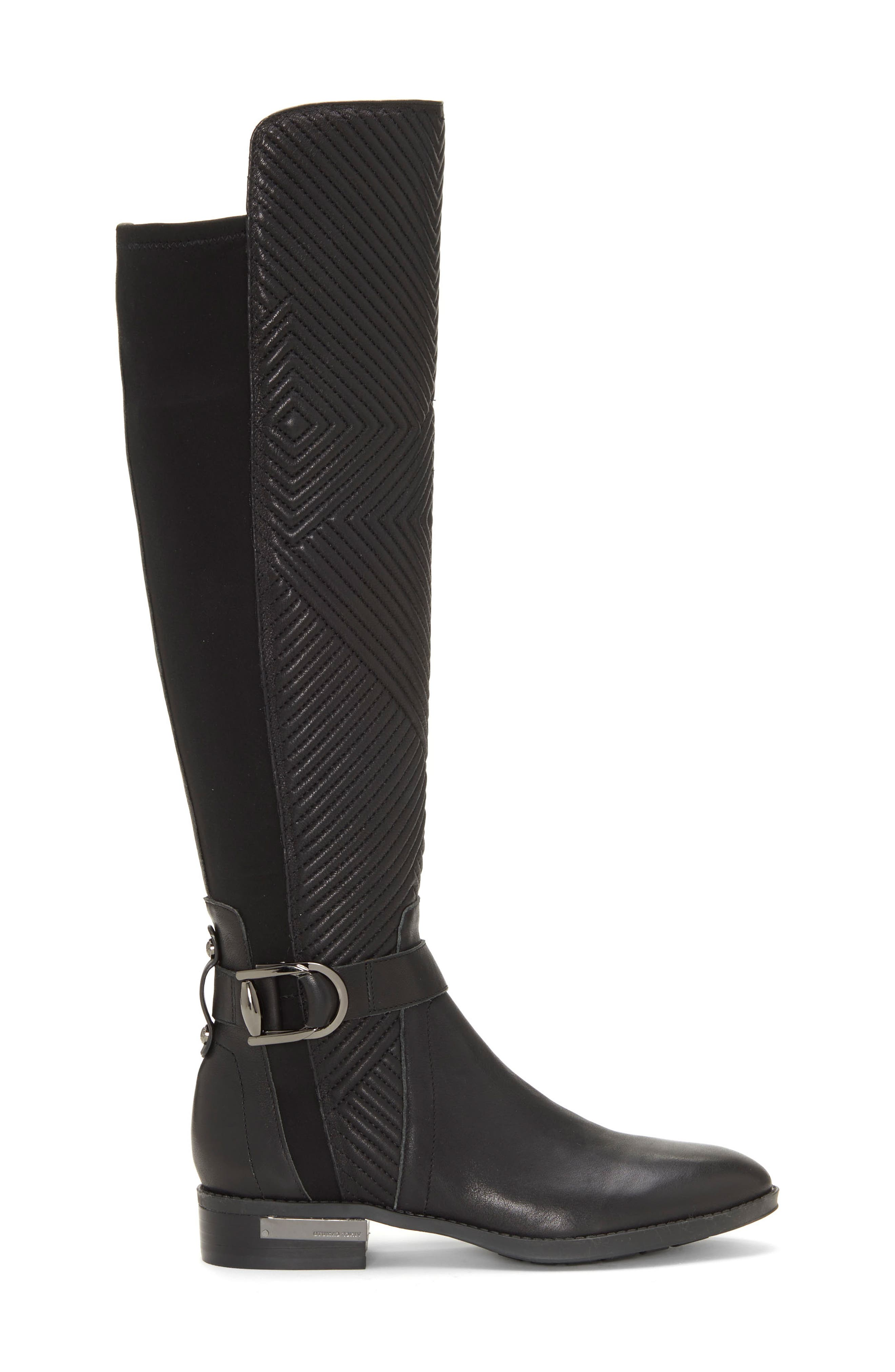 Pordalia Over-the-Knee Boot,                             Alternate thumbnail 3, color,                             BLACK LEATHER WIDE