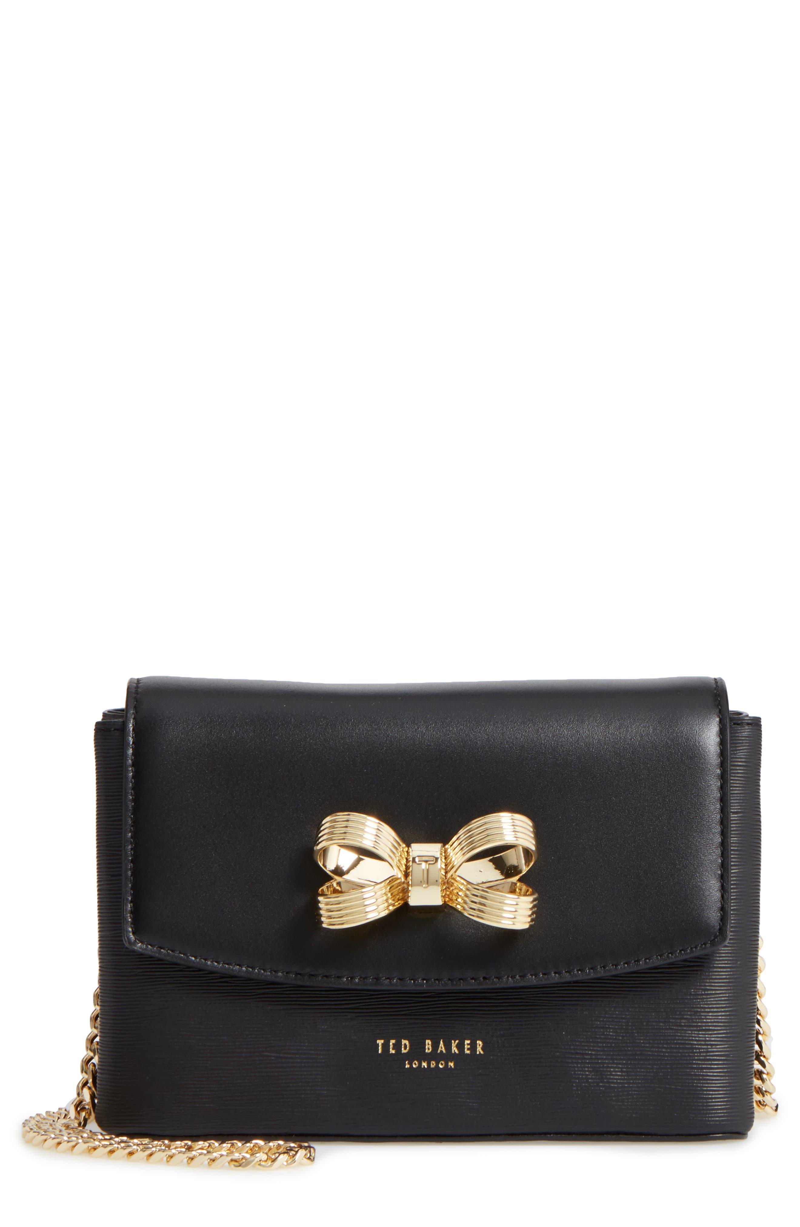 Leorr Bow Leather Crossbody Bag,                             Main thumbnail 1, color,                             001