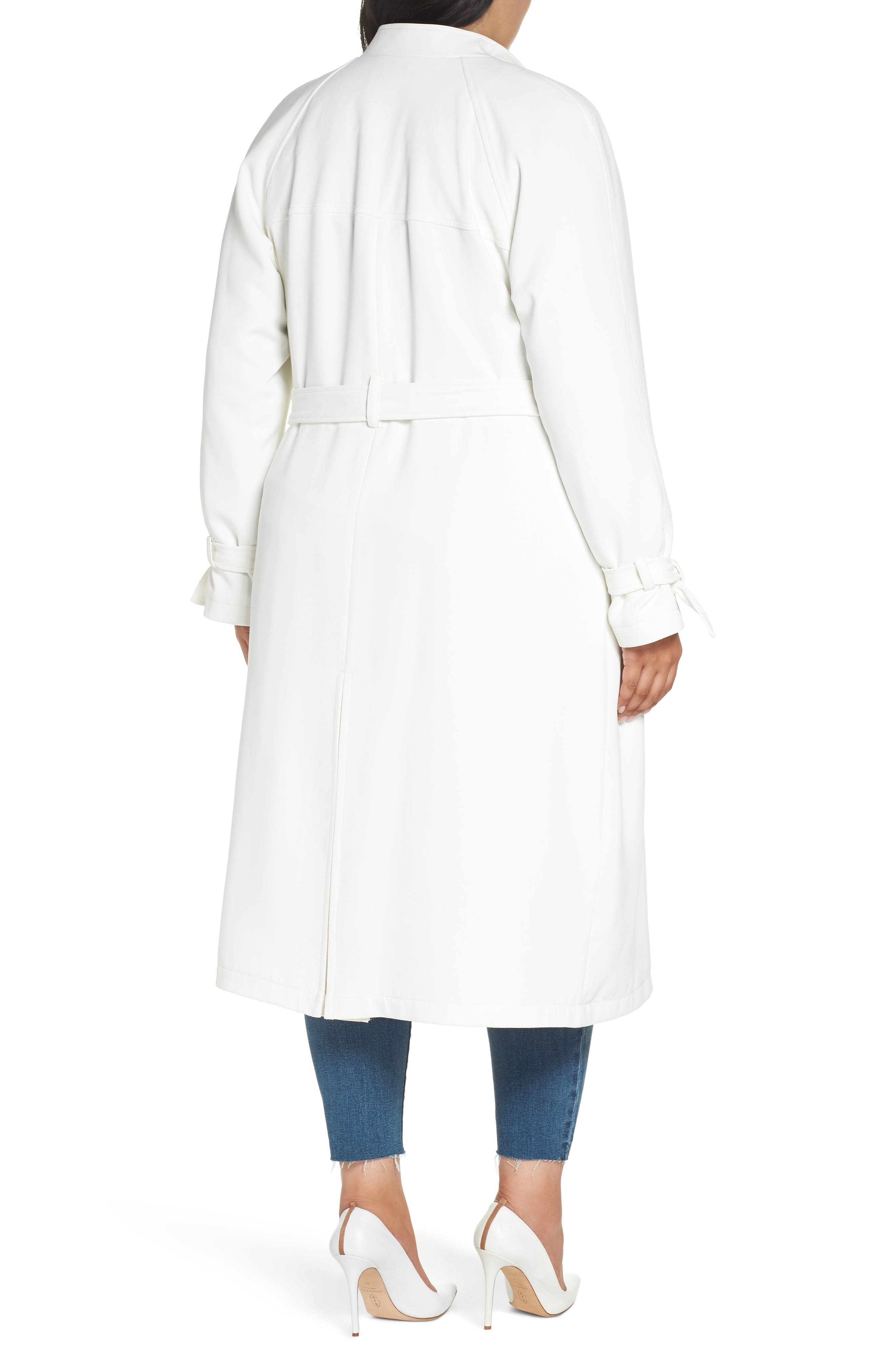Crepe Trench Coat,                             Alternate thumbnail 2, color,                             WHITE