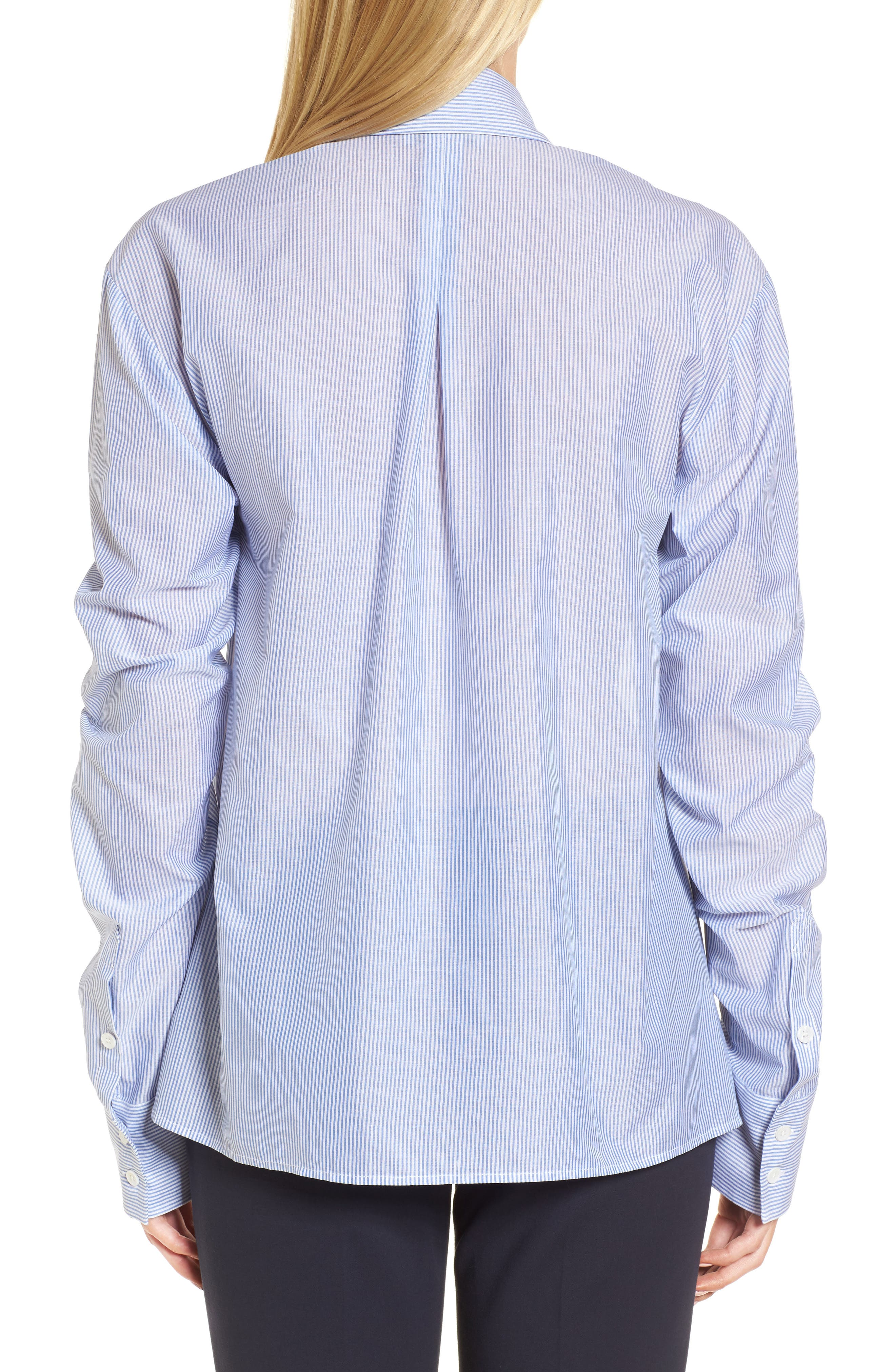 Ruched Sleeve Stripe Shirt,                             Alternate thumbnail 2, color,