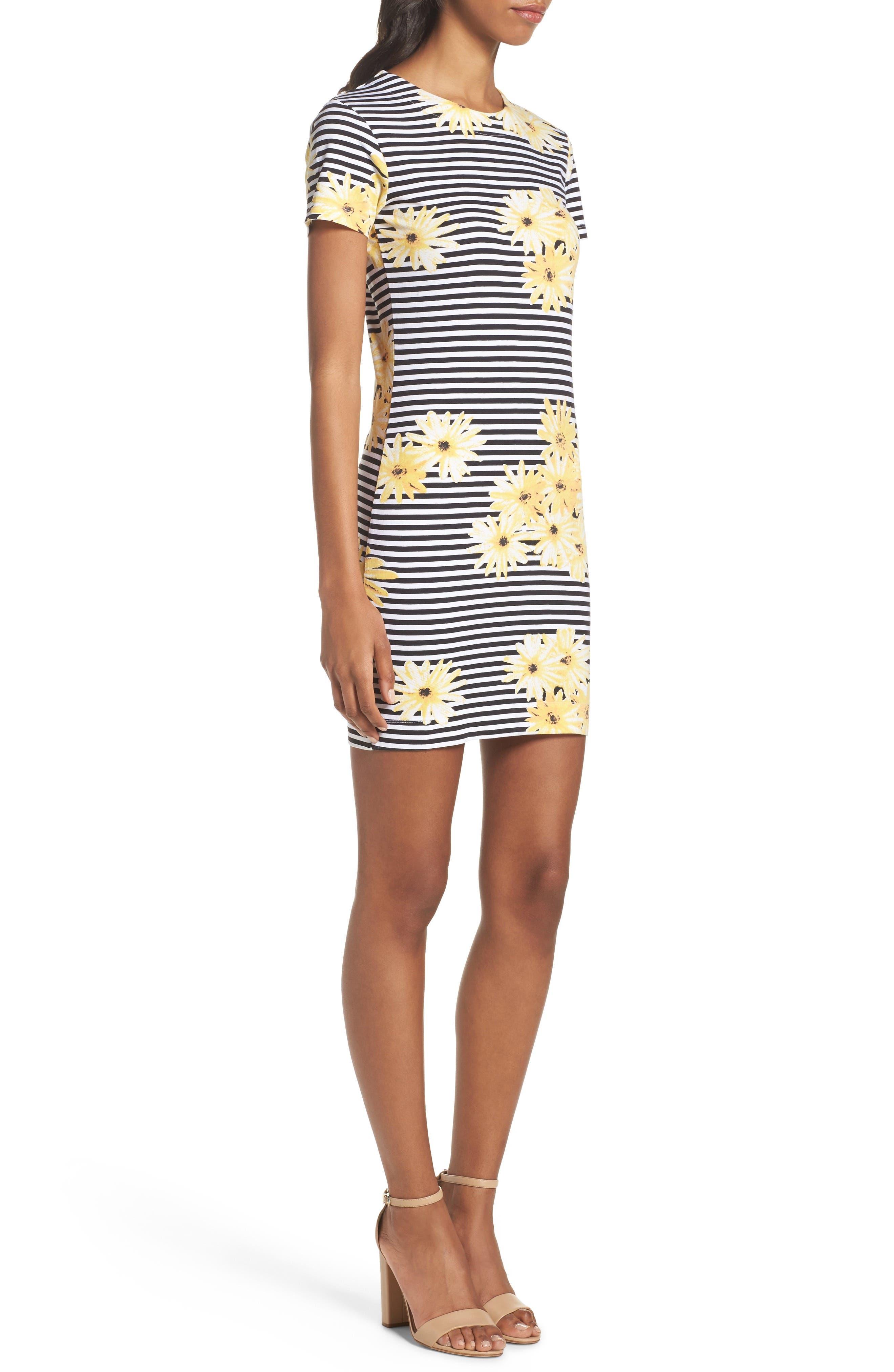 Sunflower Stripe Sheath Dress,                             Alternate thumbnail 3, color,                             007
