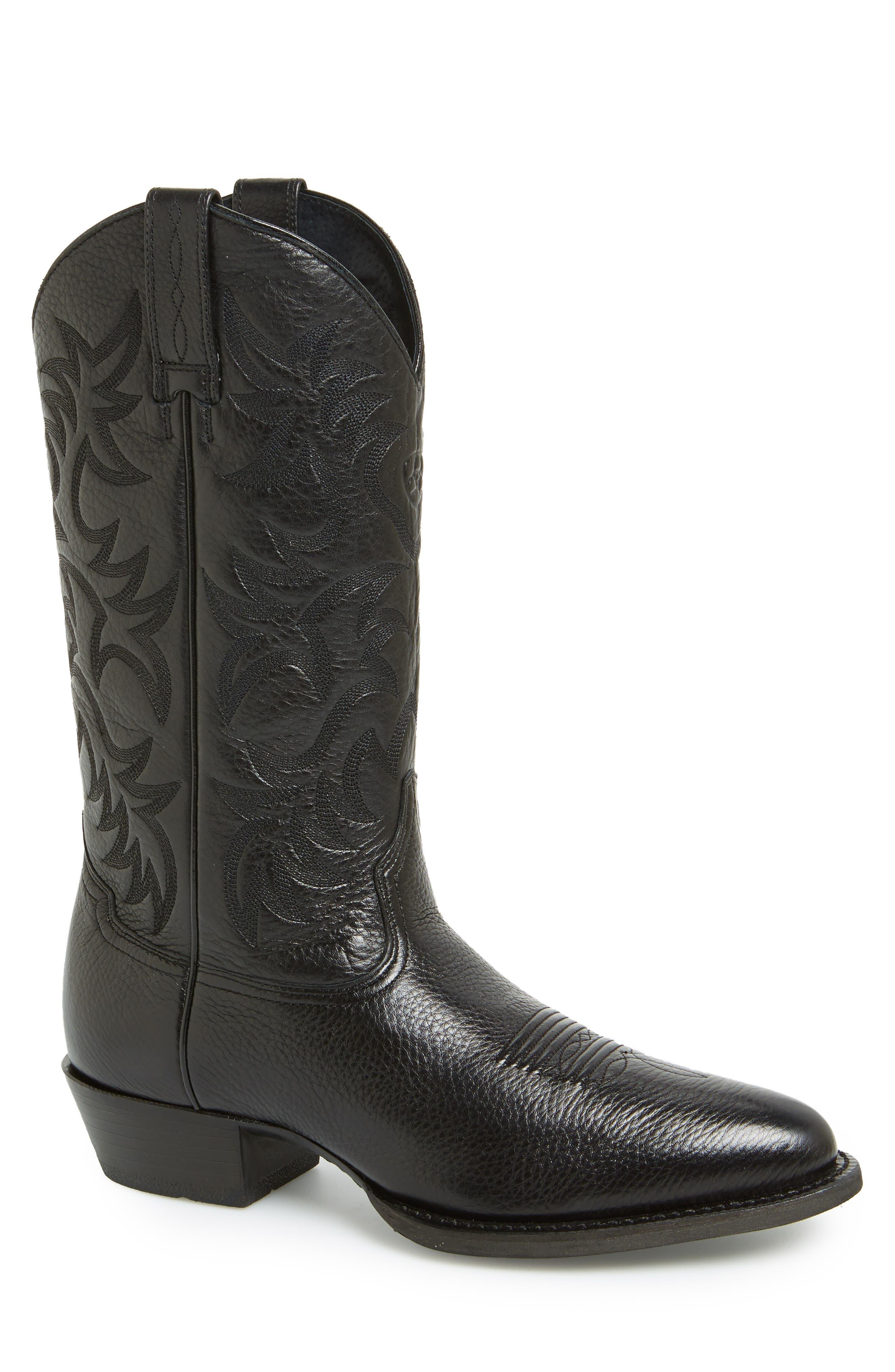 'Heritage' Leather Cowboy R-Toe Boot,                             Alternate thumbnail 4, color,                             BLACK DEERTAN