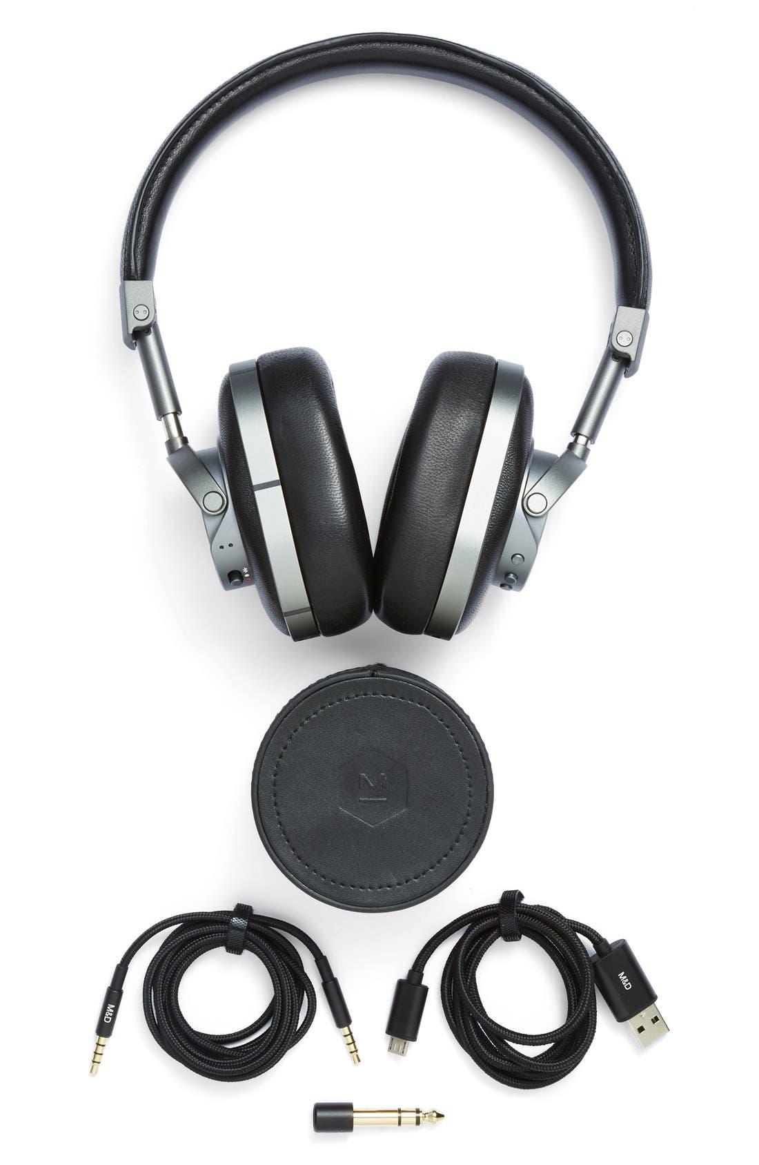MW60 Wireless Leather Over Ear Headphones,                             Alternate thumbnail 4, color,                             BLACK/ GUNMETAL