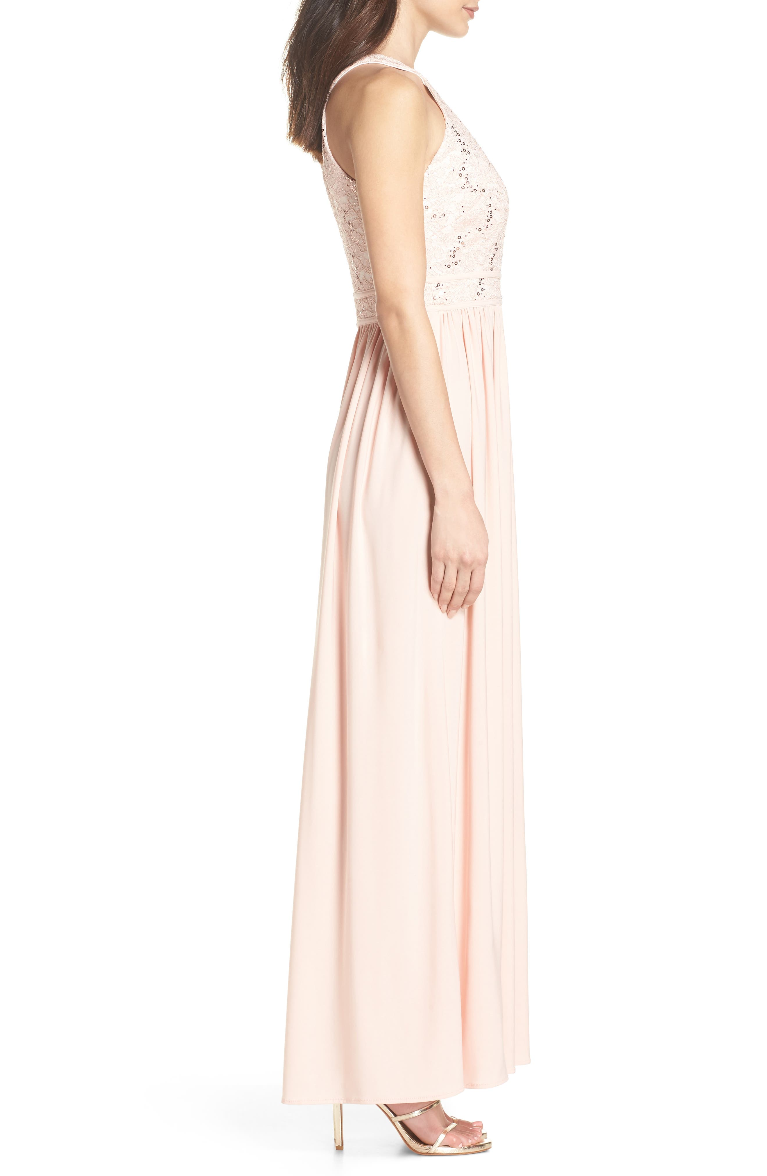 Lace Bodice Keyhole Gown,                             Alternate thumbnail 3, color,                             652