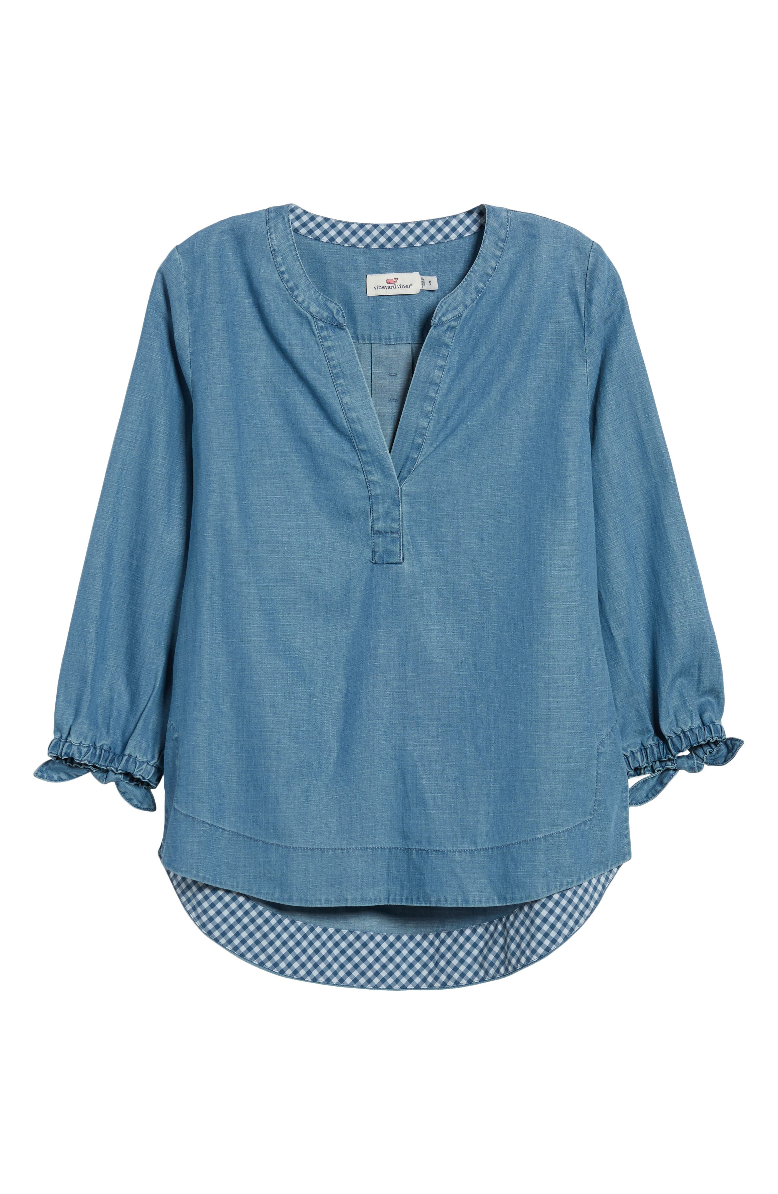 Chambray Tie Sleeve Popover Top,                             Alternate thumbnail 6, color,