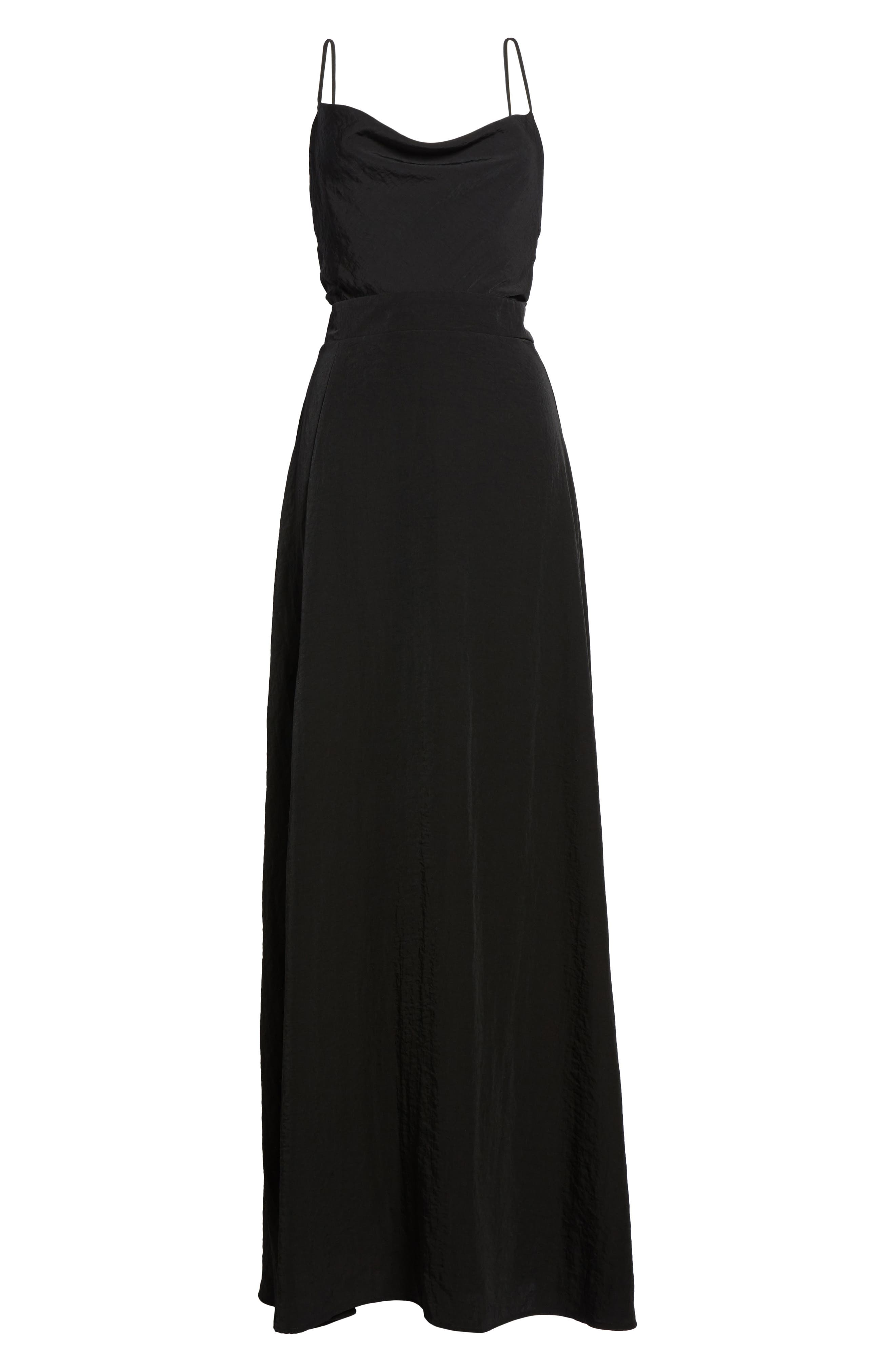 Cowl Neck Maxi Dress,                             Alternate thumbnail 6, color,                             001
