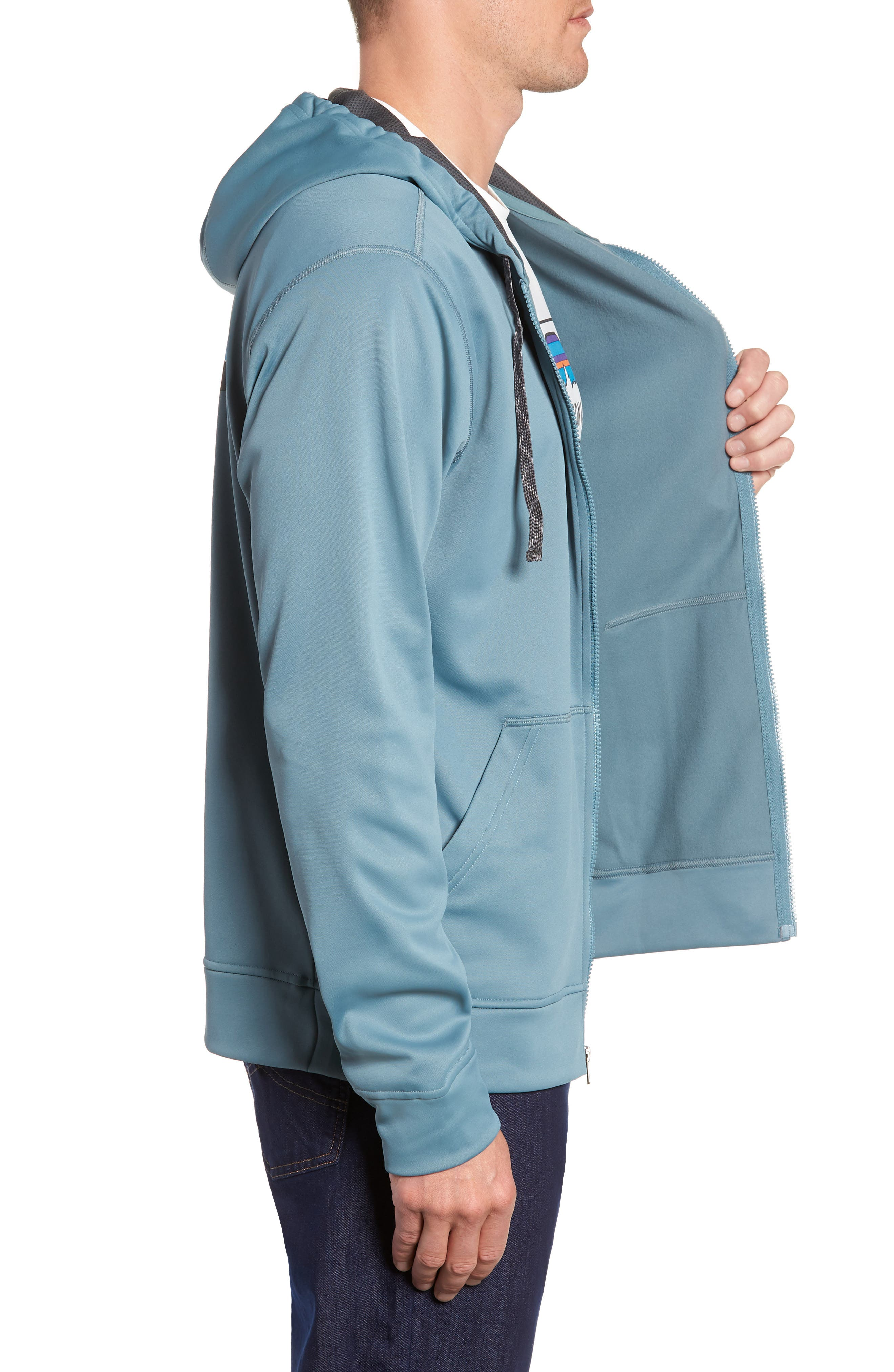 Fitz Roy Trout PolyCycle<sup>®</sup> Full-Zip Hoodie,                             Alternate thumbnail 3, color,                             SHADOW BLUE