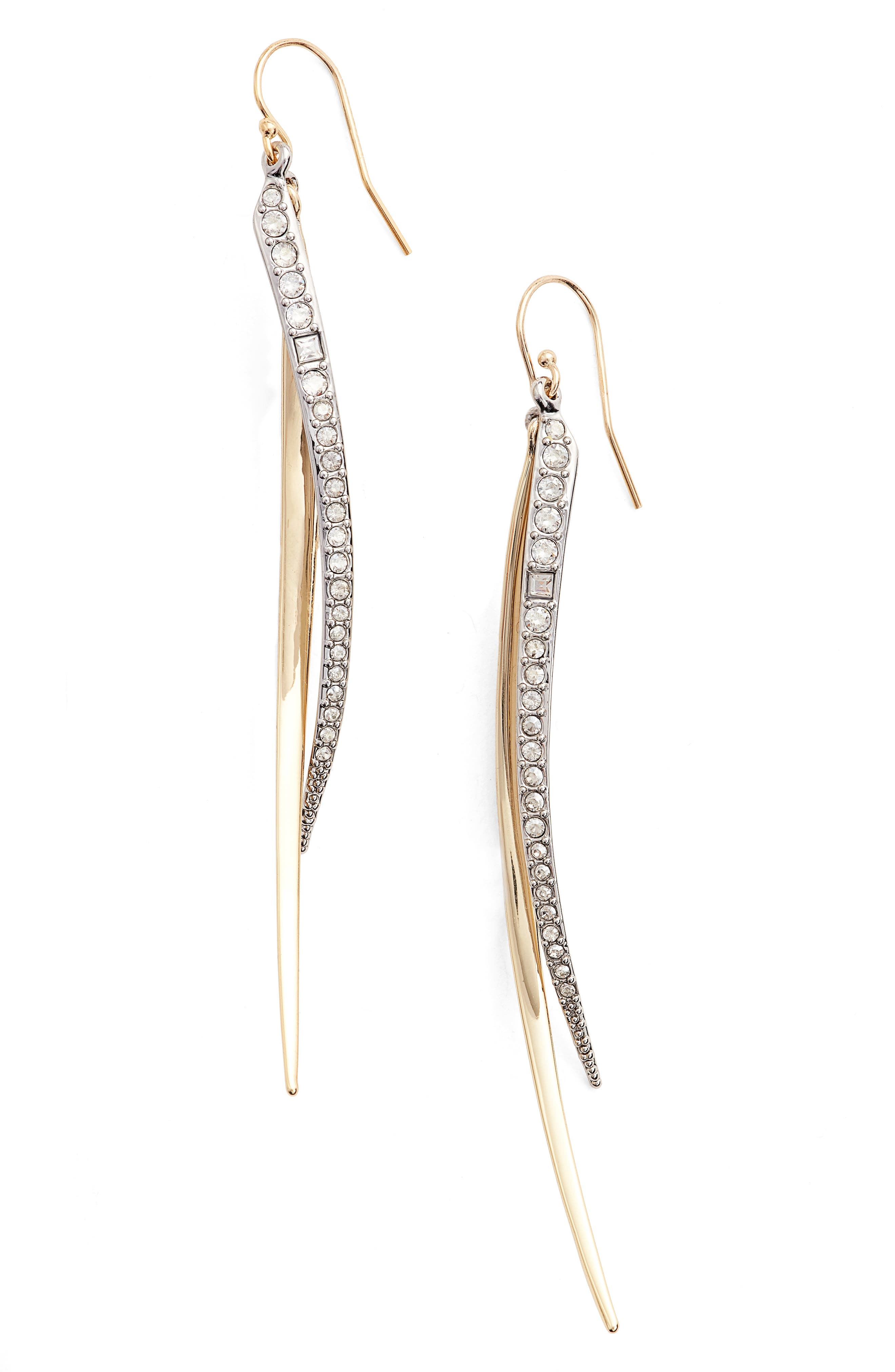Two-Tone Crystal Drop Earrings,                         Main,                         color, GOLD