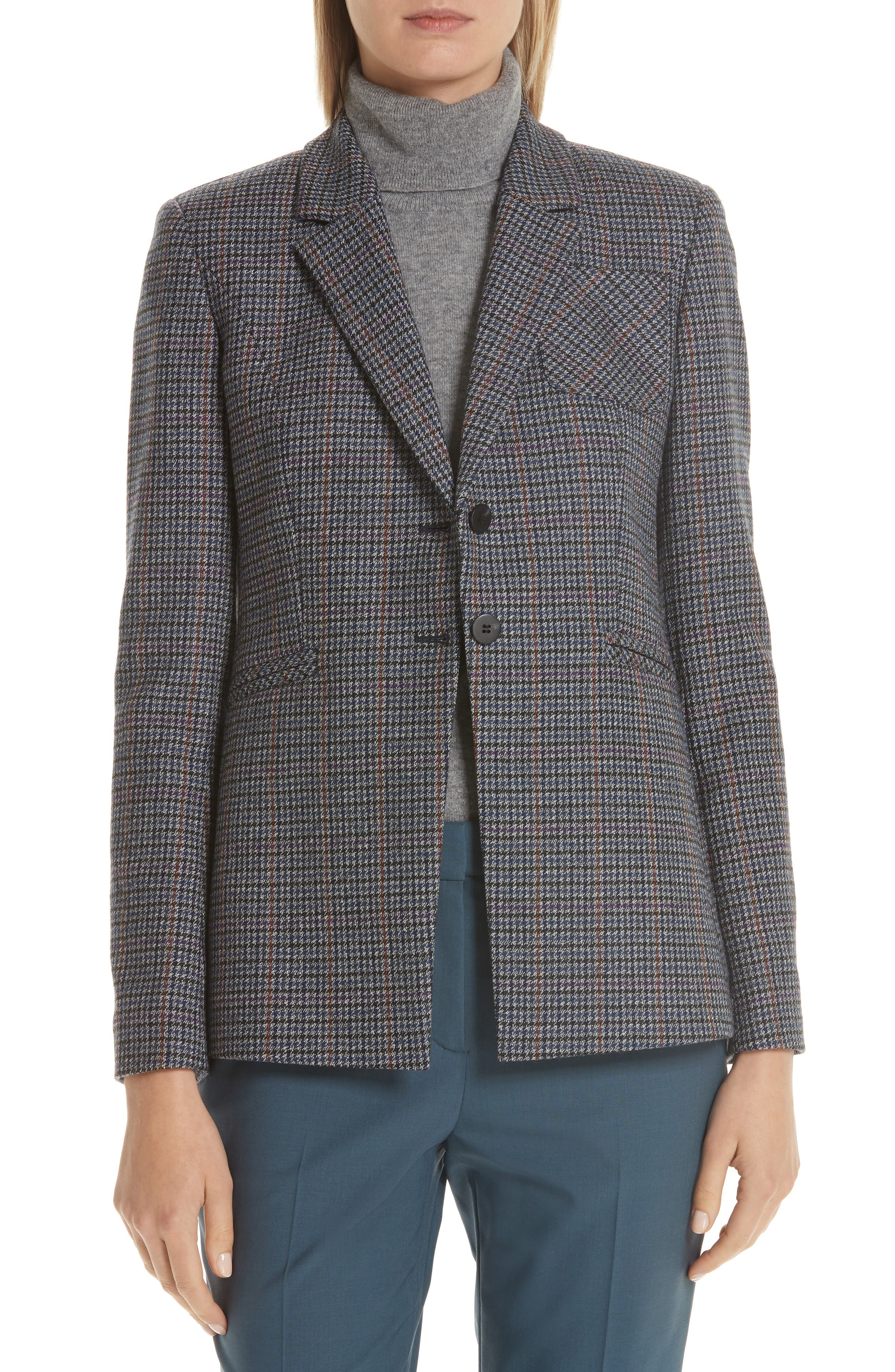 Elbow Patch Plaid Blazer,                             Main thumbnail 1, color,                             NAVY NIGHT HOUNDSTOOTH