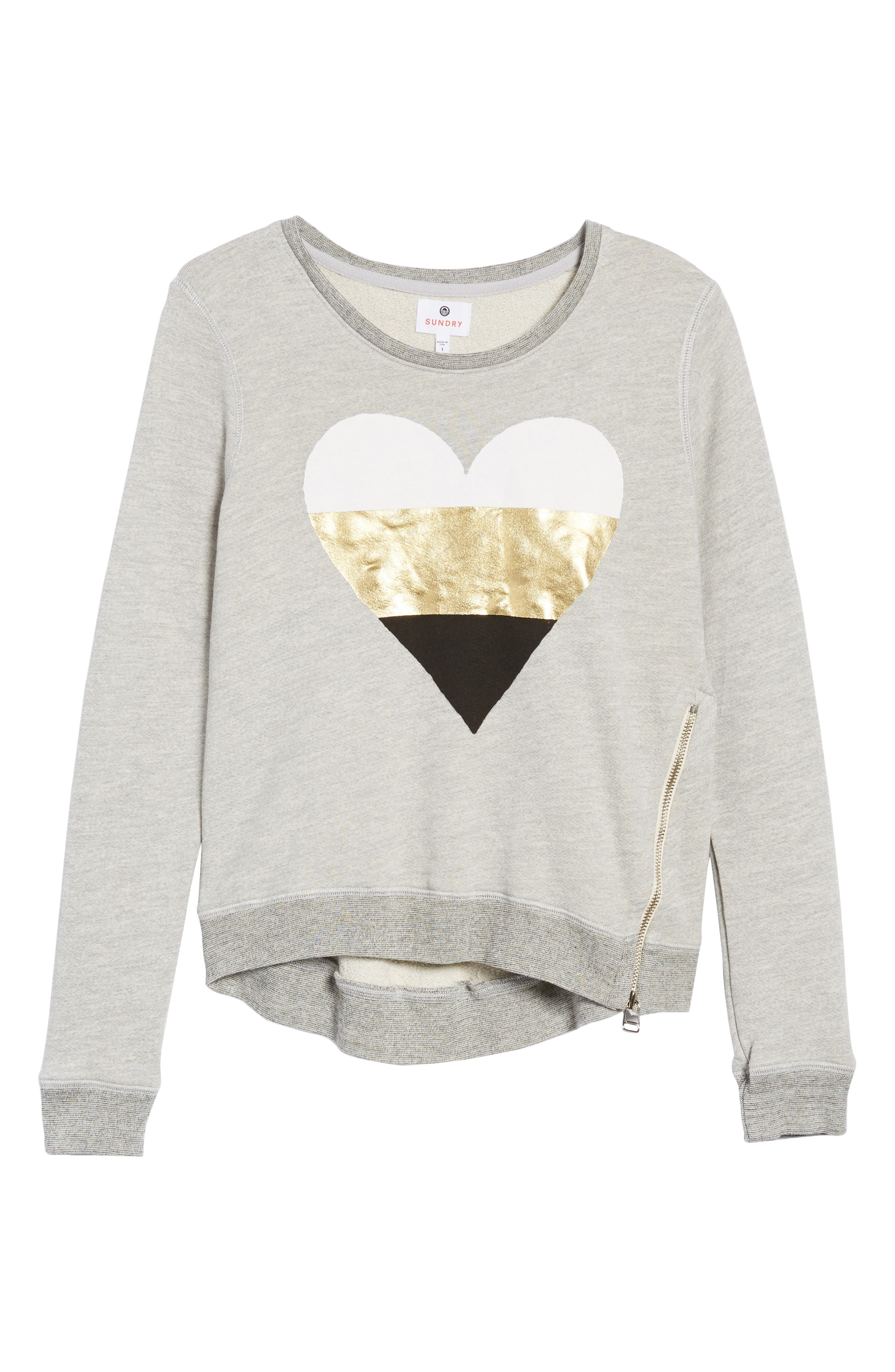 Heart Side Zip Sweatshirt,                             Alternate thumbnail 6, color,                             039