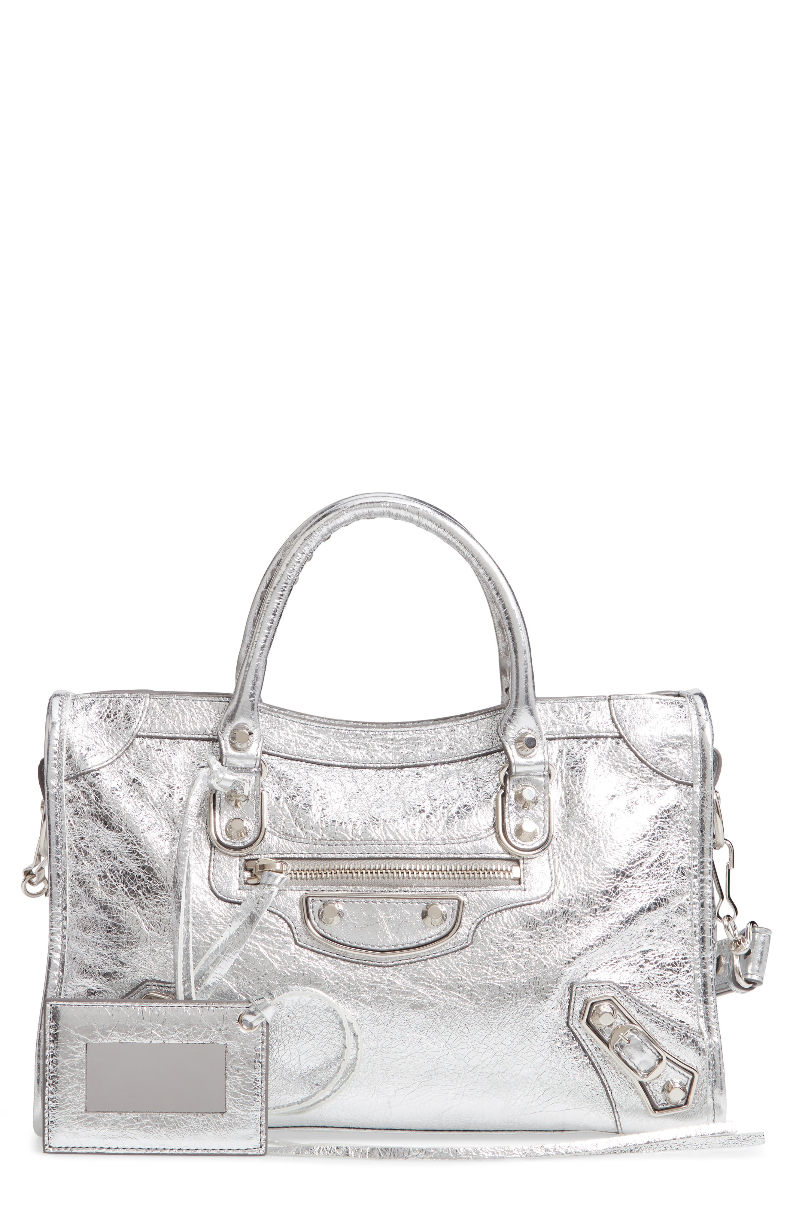 Small Metallic Edge City Leather Tote,                             Main thumbnail 1, color,                             ARGENT