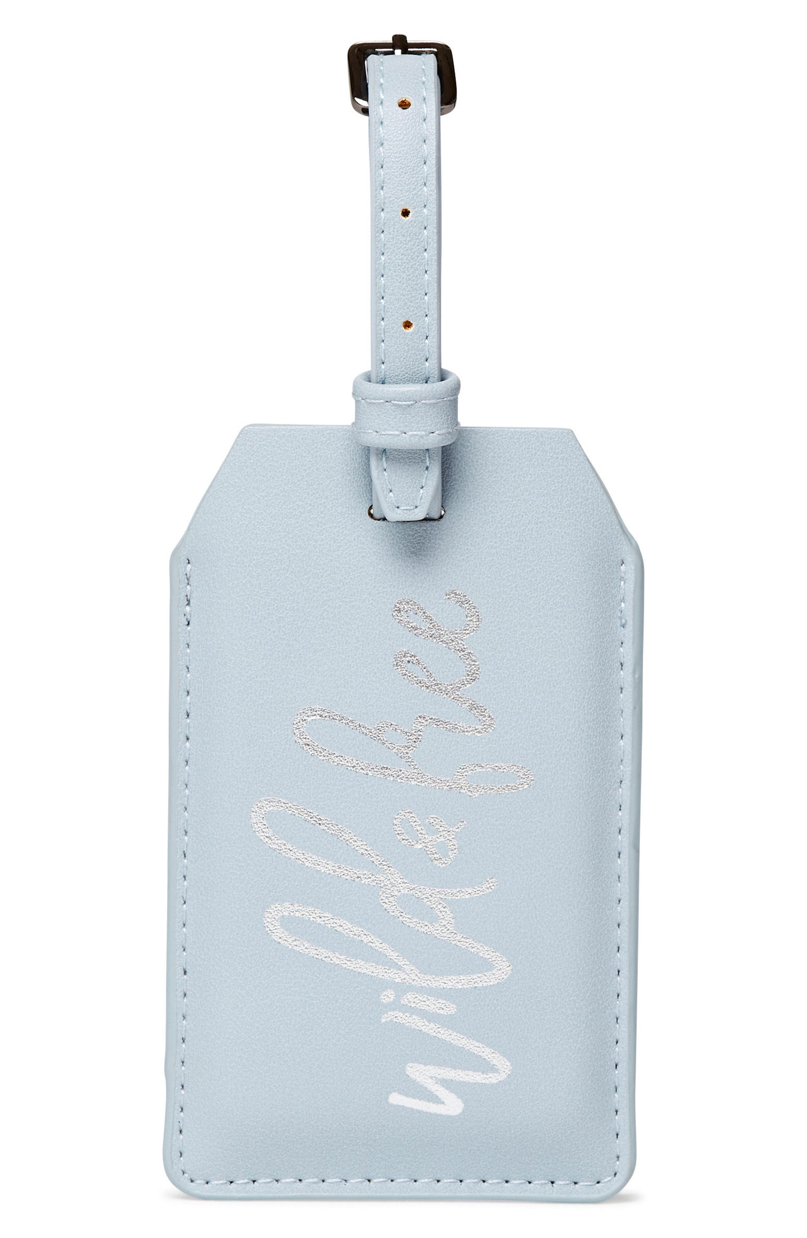 Faux Leather Power Charging Luggage Tag, Main, color, WILD AND FREE