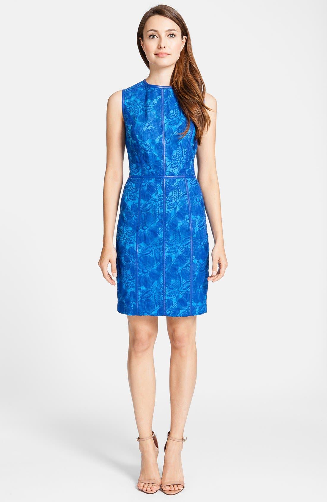 'Eleonora' Faux Leather Trim Organza Sheath Dress,                             Main thumbnail 1, color,                             426