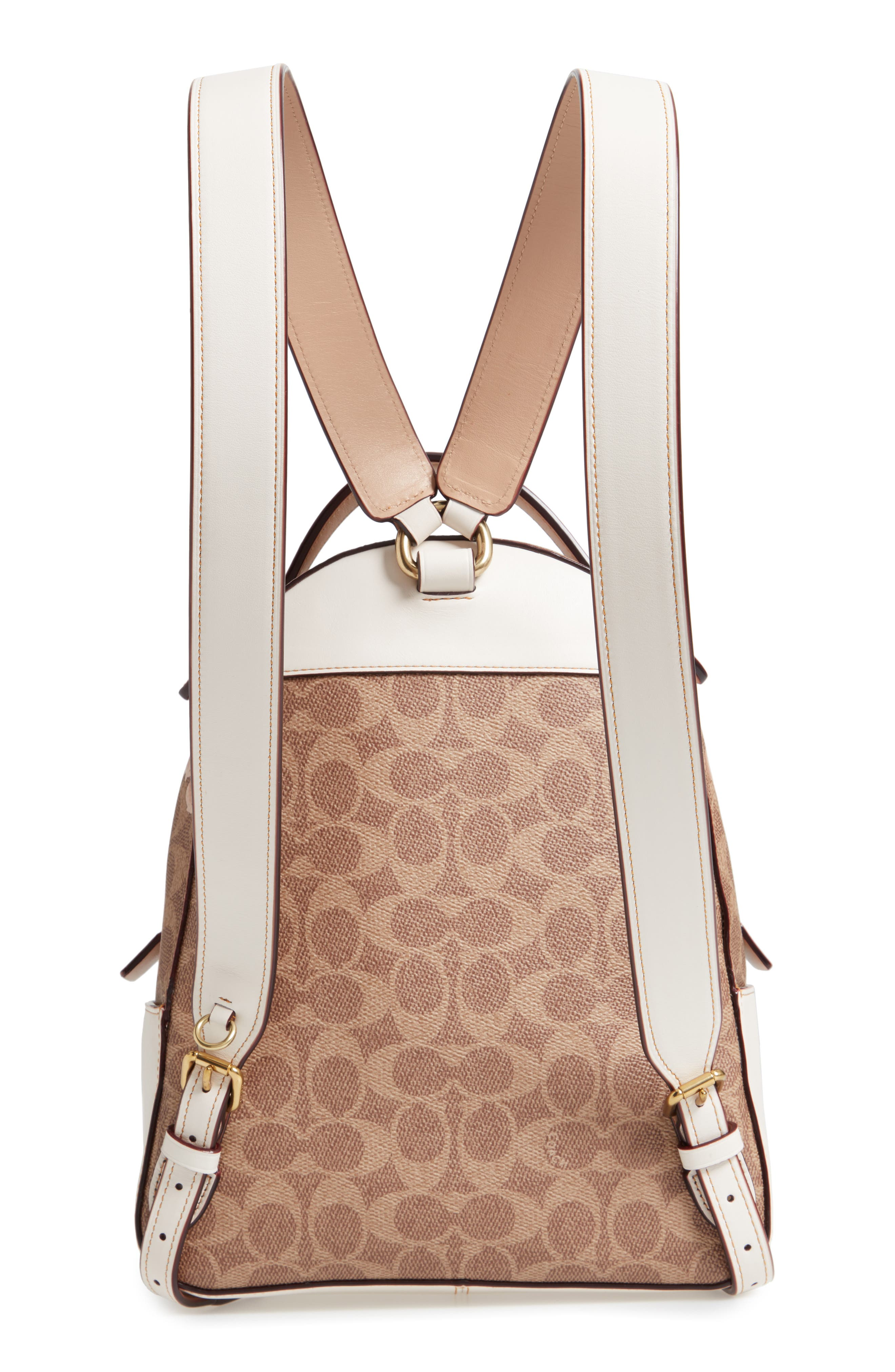 COACH,                             Campus Signature Rose Coated Canvas Backpack,                             Alternate thumbnail 3, color,                             250