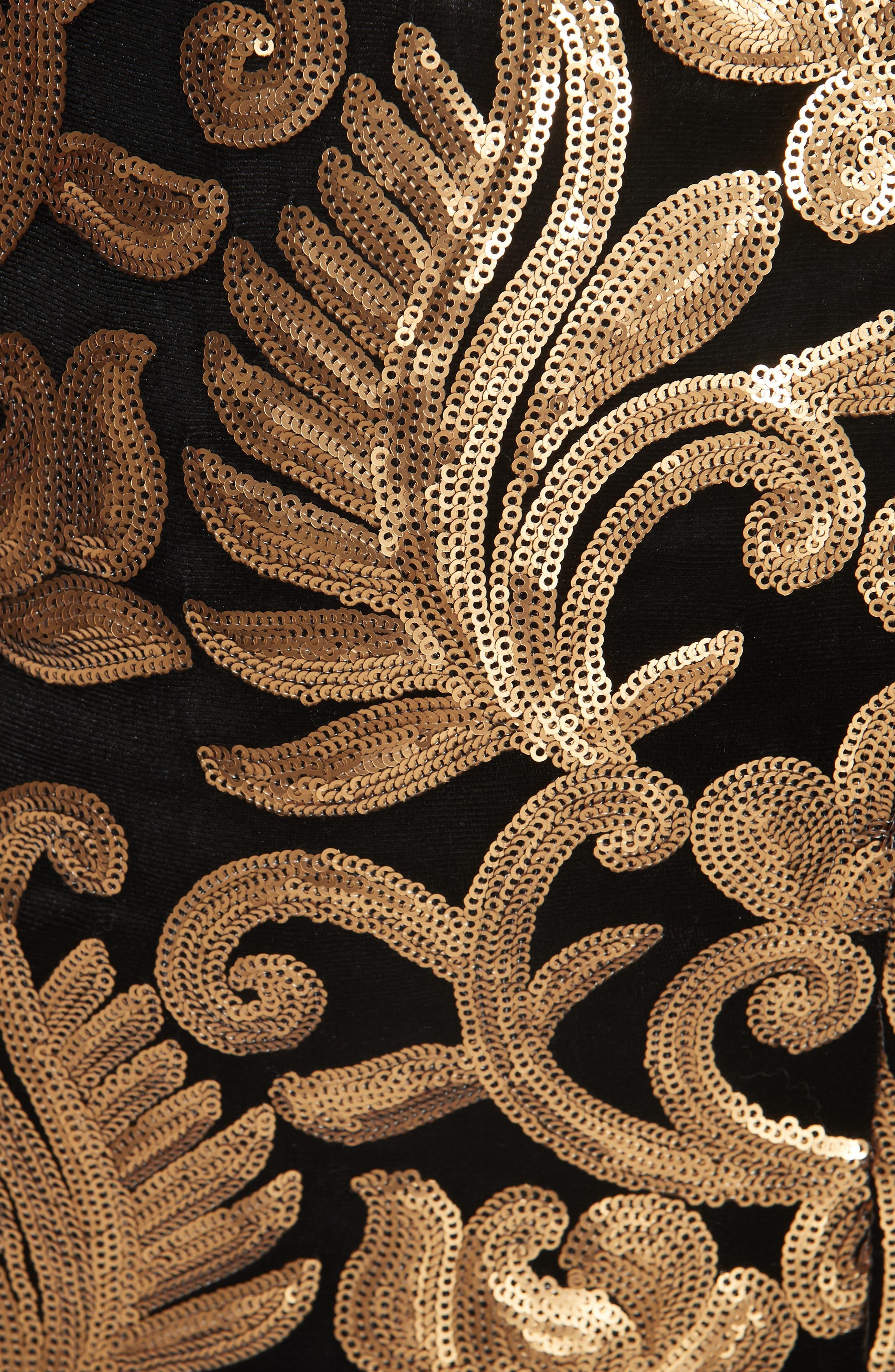 Inka Sequin Flora Dress,                             Alternate thumbnail 6, color,                             001