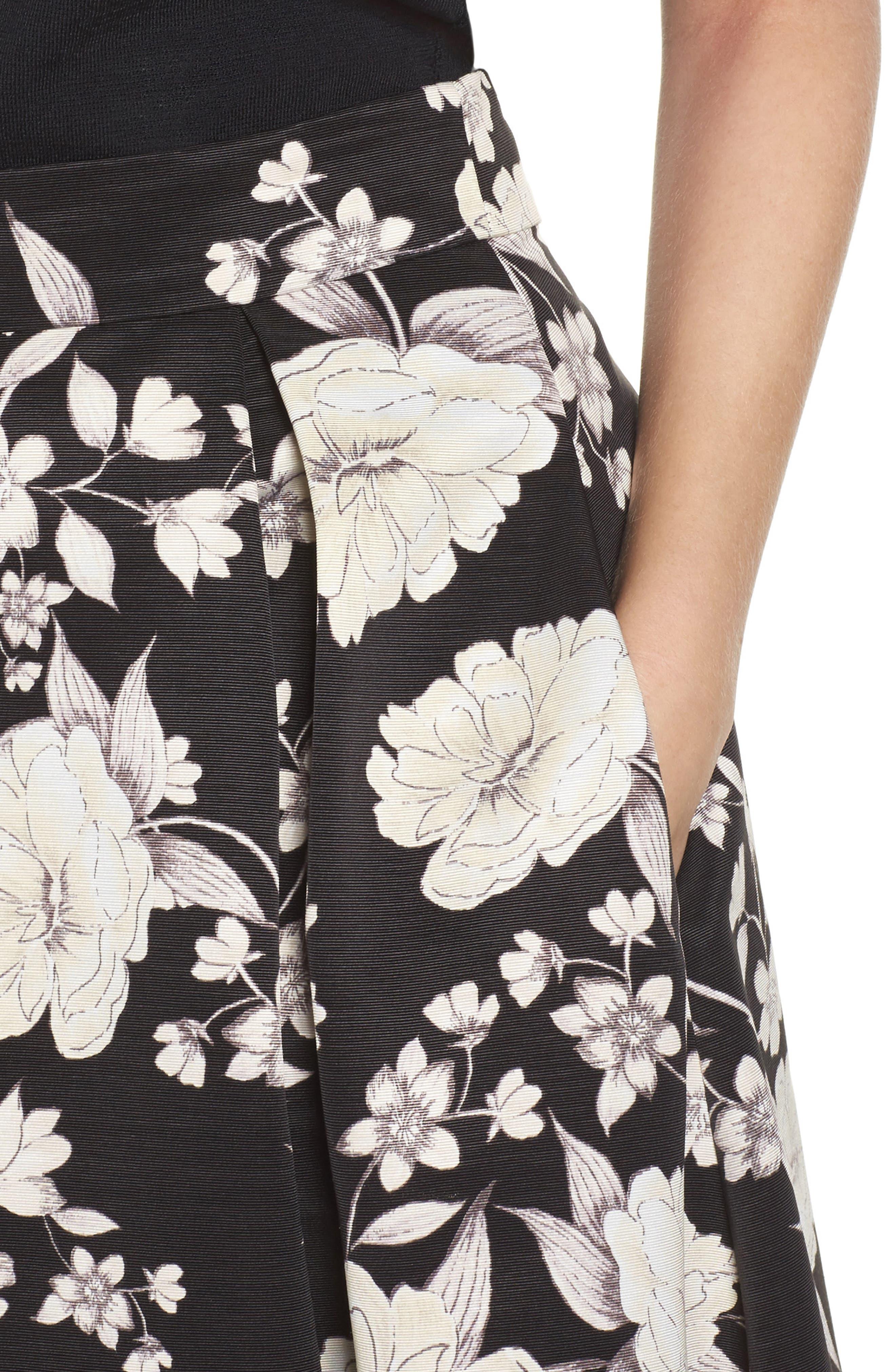 Floral Print Midi Skirt,                             Alternate thumbnail 4, color,                             003