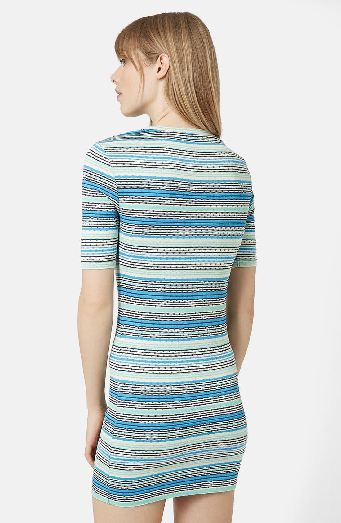 TOPSHOP,                             Jacquard Tunic Dress,                             Alternate thumbnail 3, color,                             400