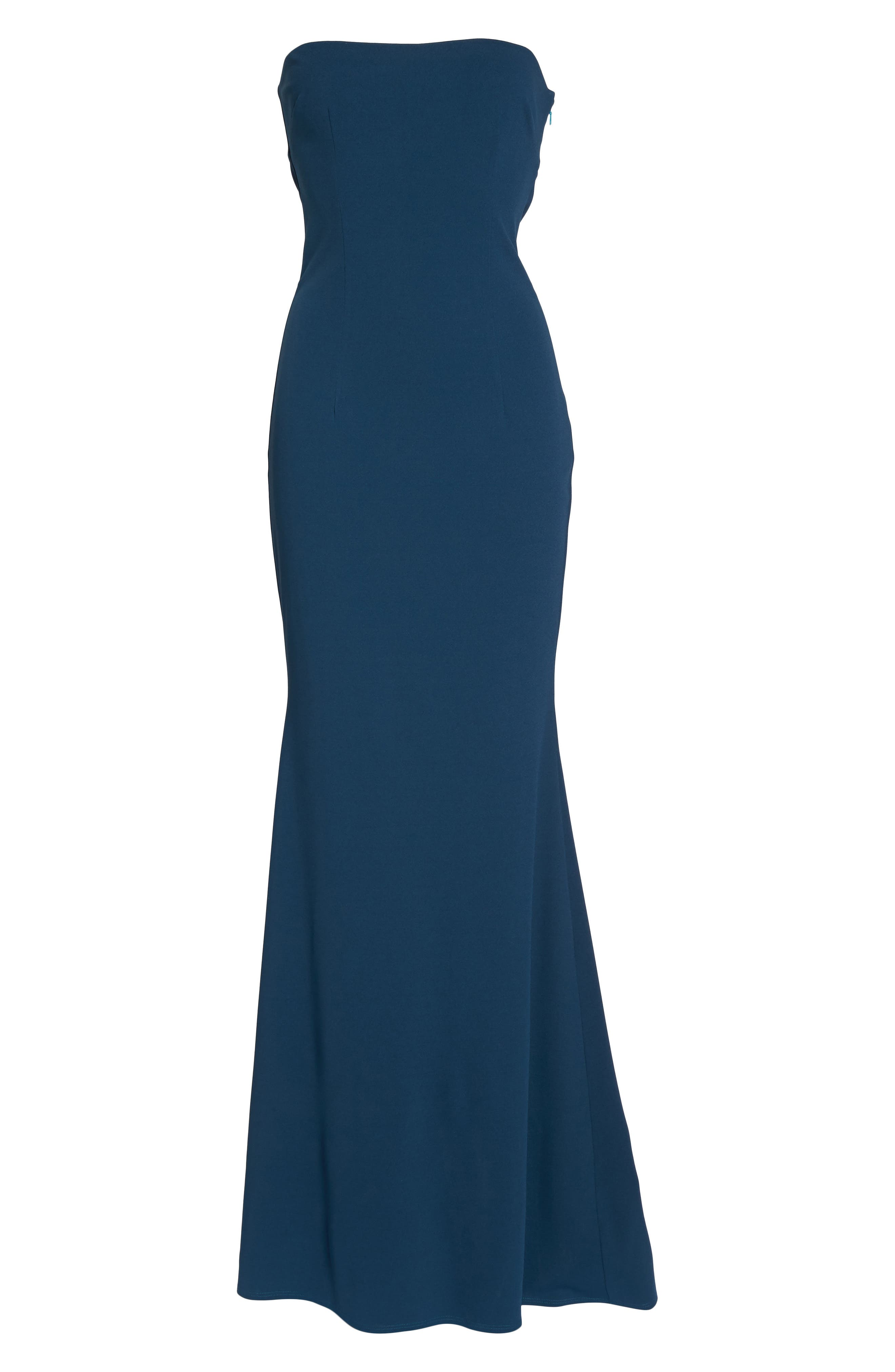 Mary Kate Strapless Cutout Back Gown,                             Alternate thumbnail 6, color,                             TEAL