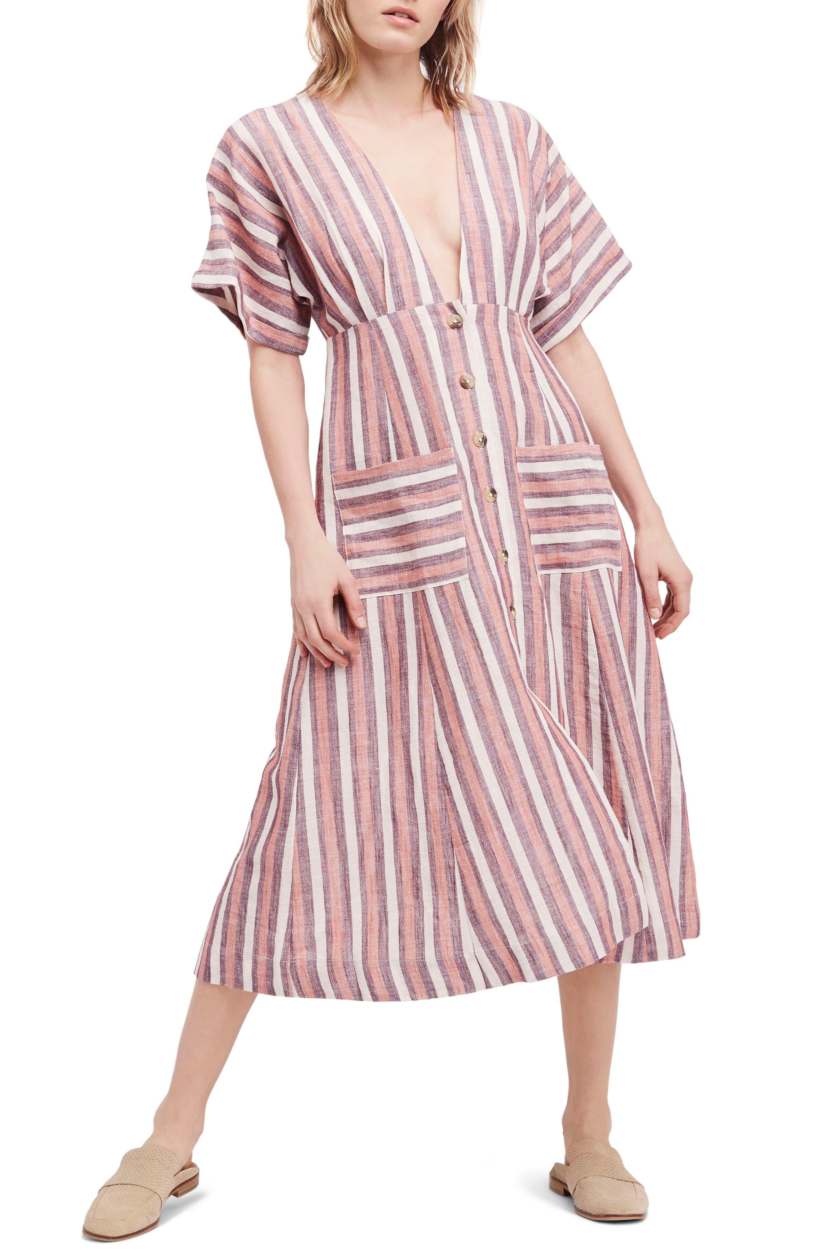 Monday Stripe Linen Blend Midi Dress,                             Alternate thumbnail 10, color,