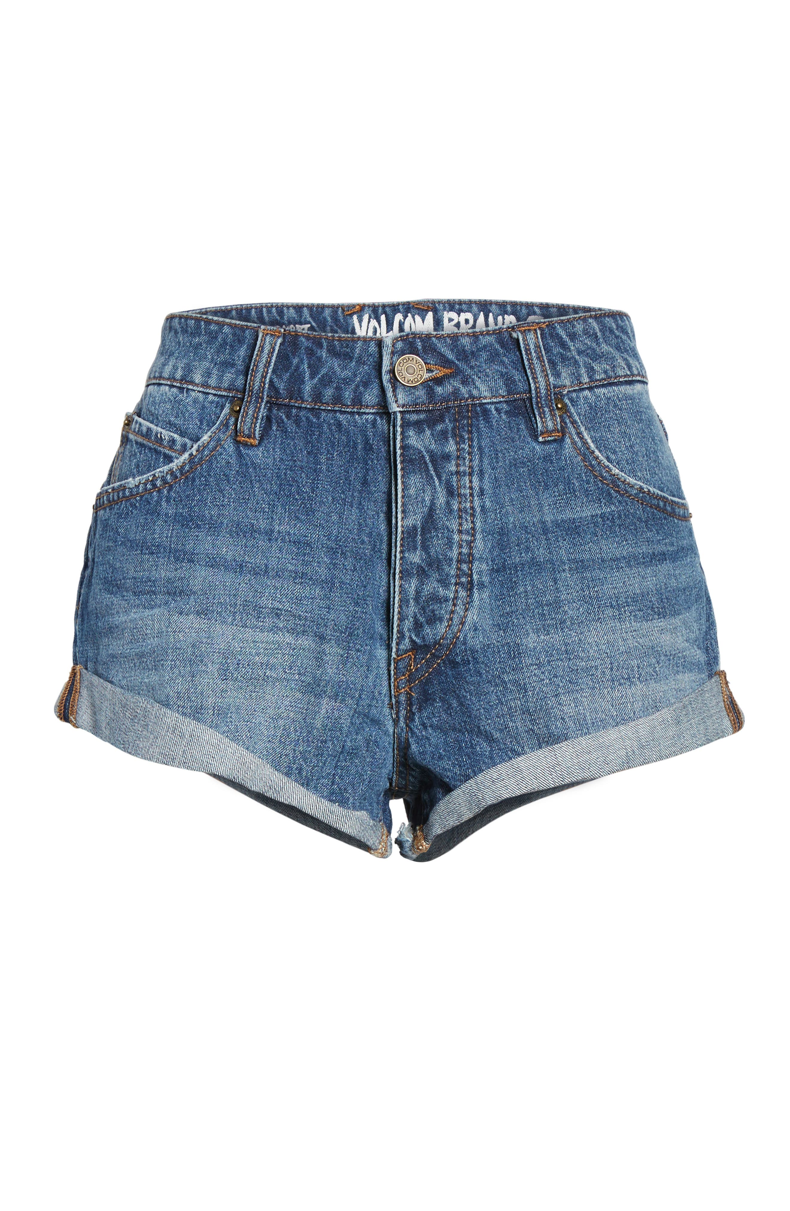 Rolled Denim Shorts,                             Alternate thumbnail 6, color,                             409