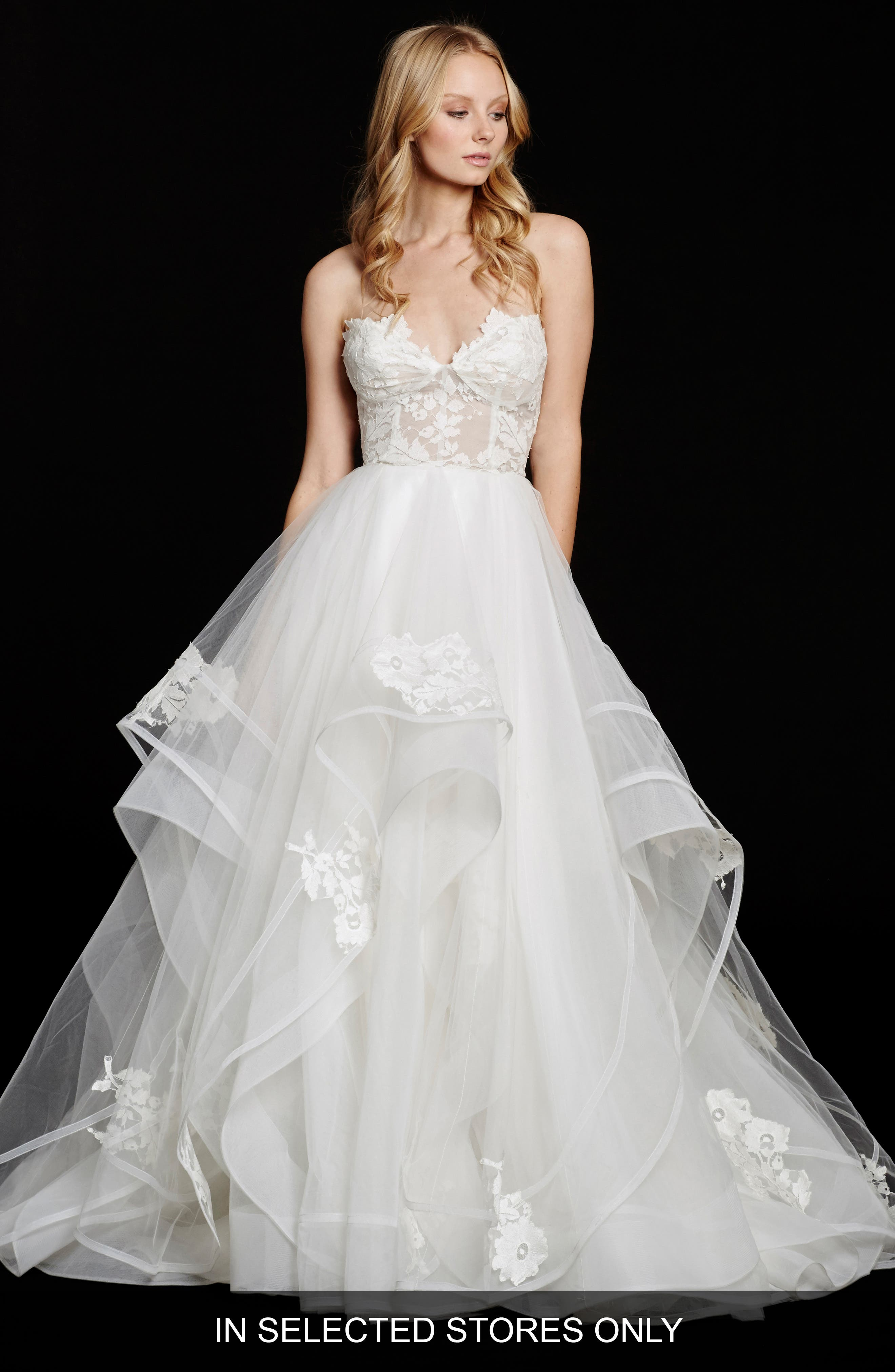 Chantelle Strapless Lace & Tulle Ballgown,                             Alternate thumbnail 3, color,                             IVORY