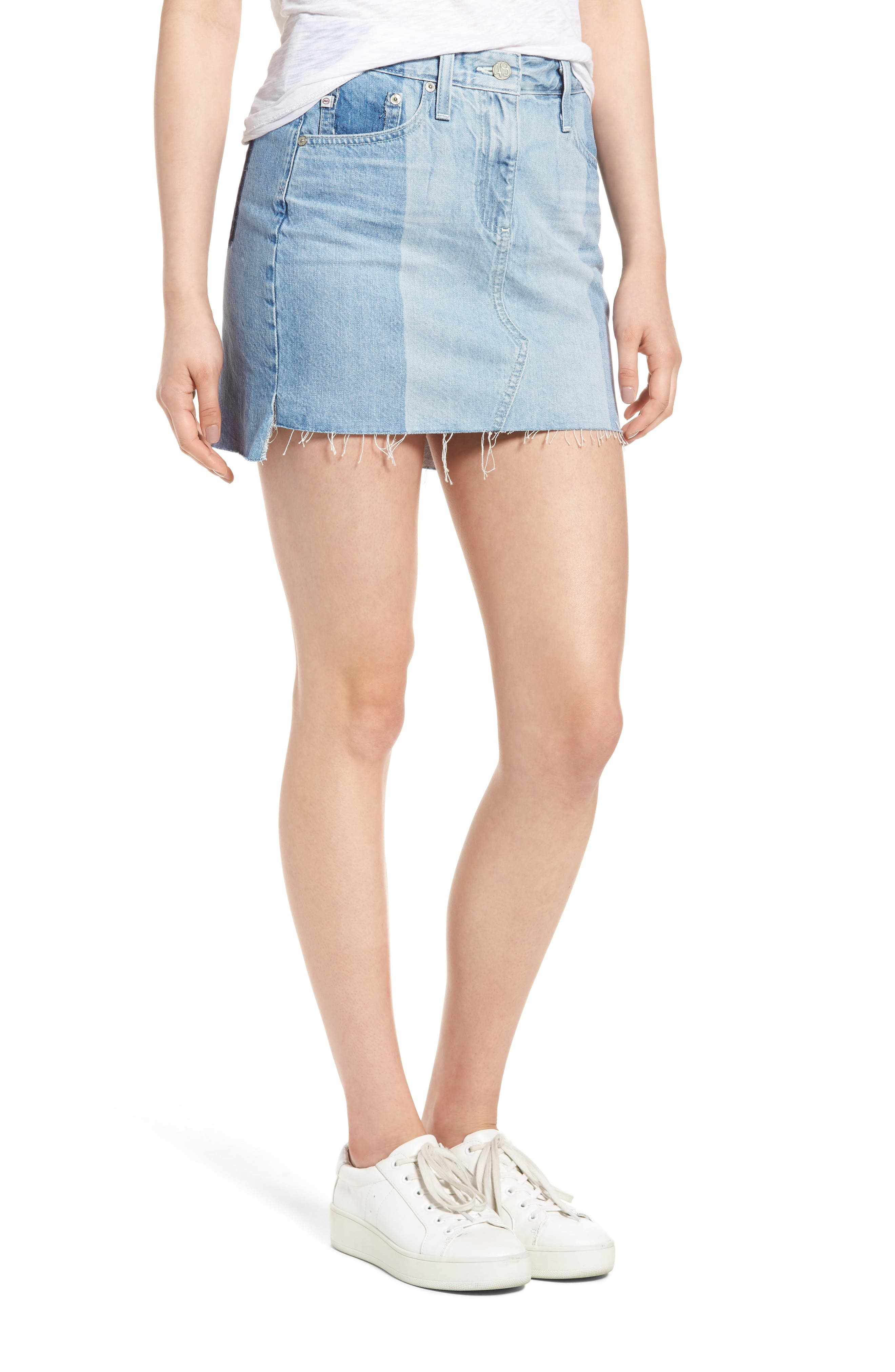 Sandy Raw Edge Denim Miniskirt,                             Main thumbnail 1, color,                             466