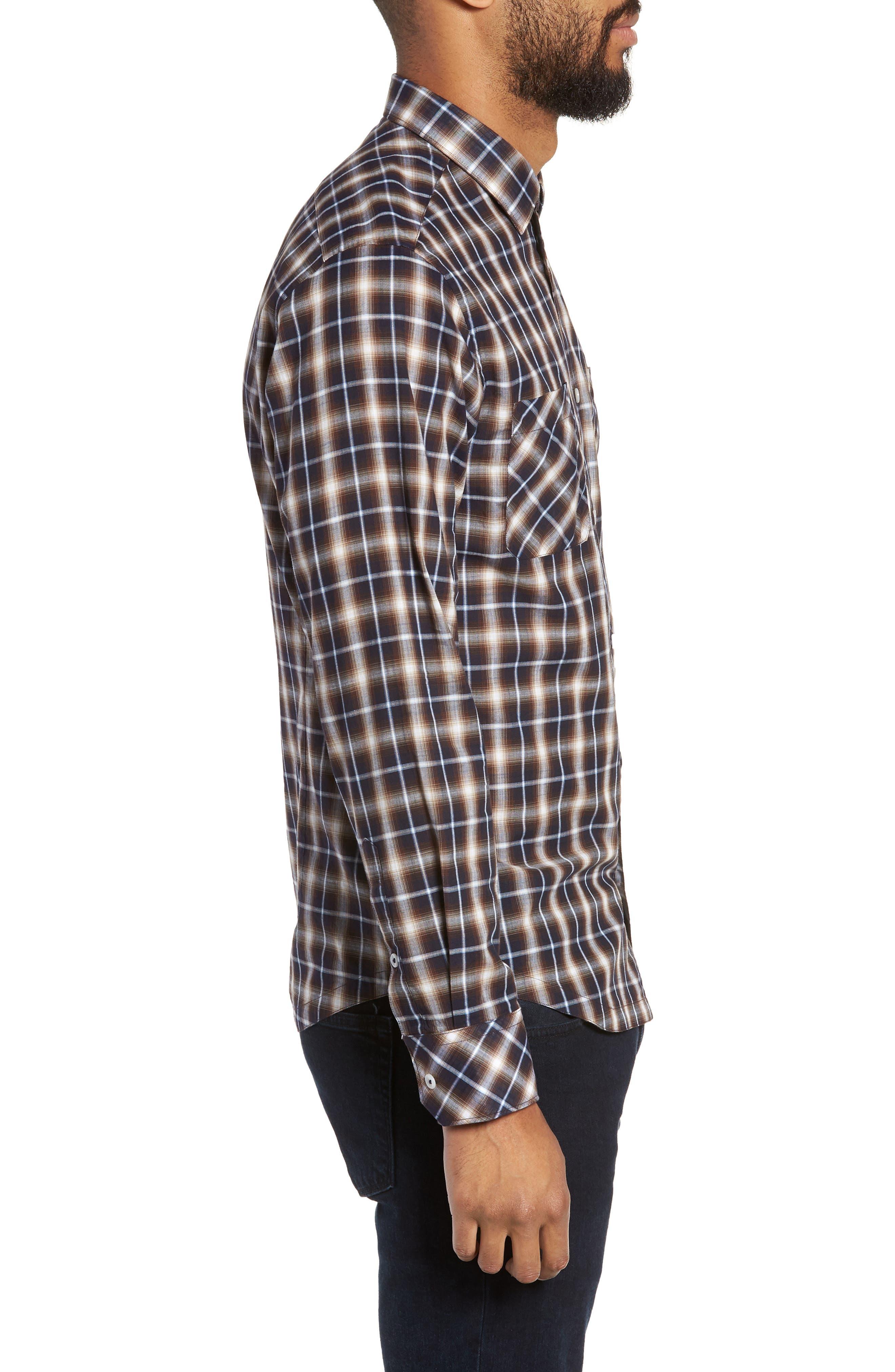 Alderplaid Slim Fit Sport Shirt,                             Alternate thumbnail 3, color,                             TOBACCO