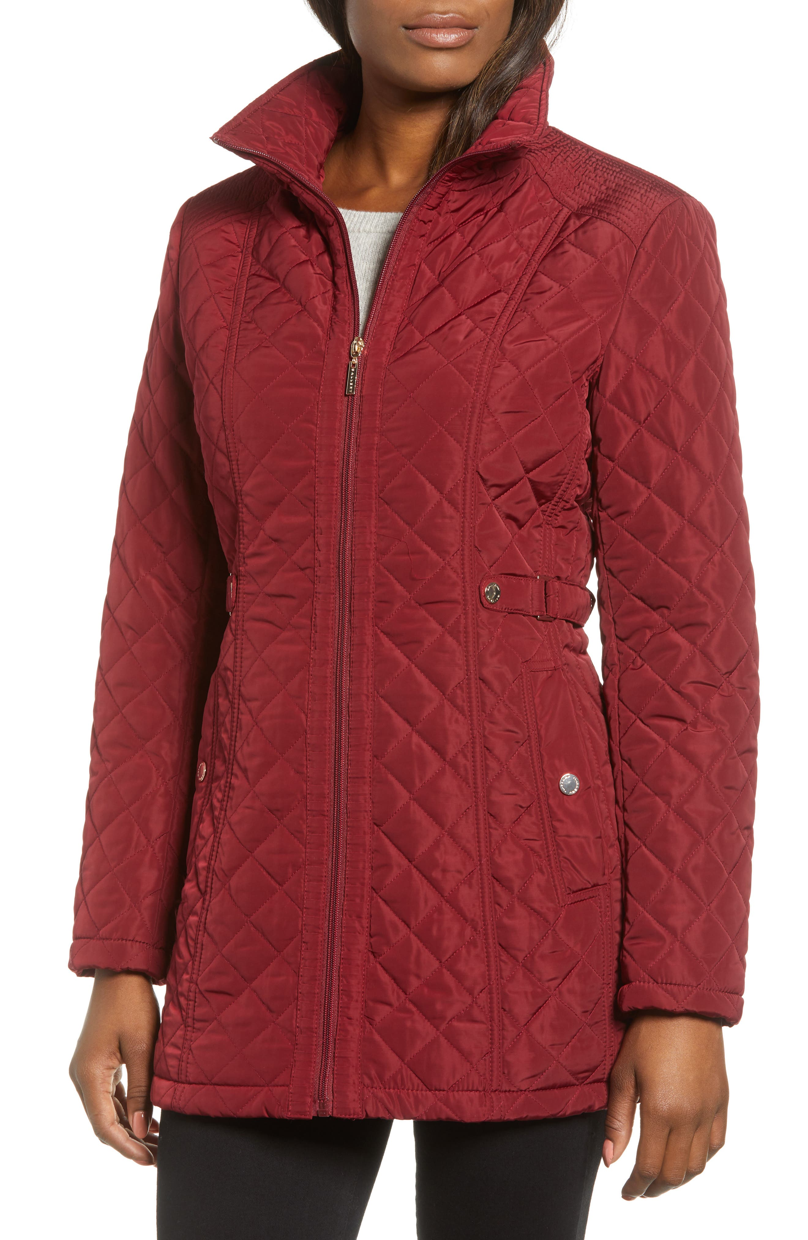 Quilted Hooded Jacket,                             Alternate thumbnail 4, color,                             MERLOT