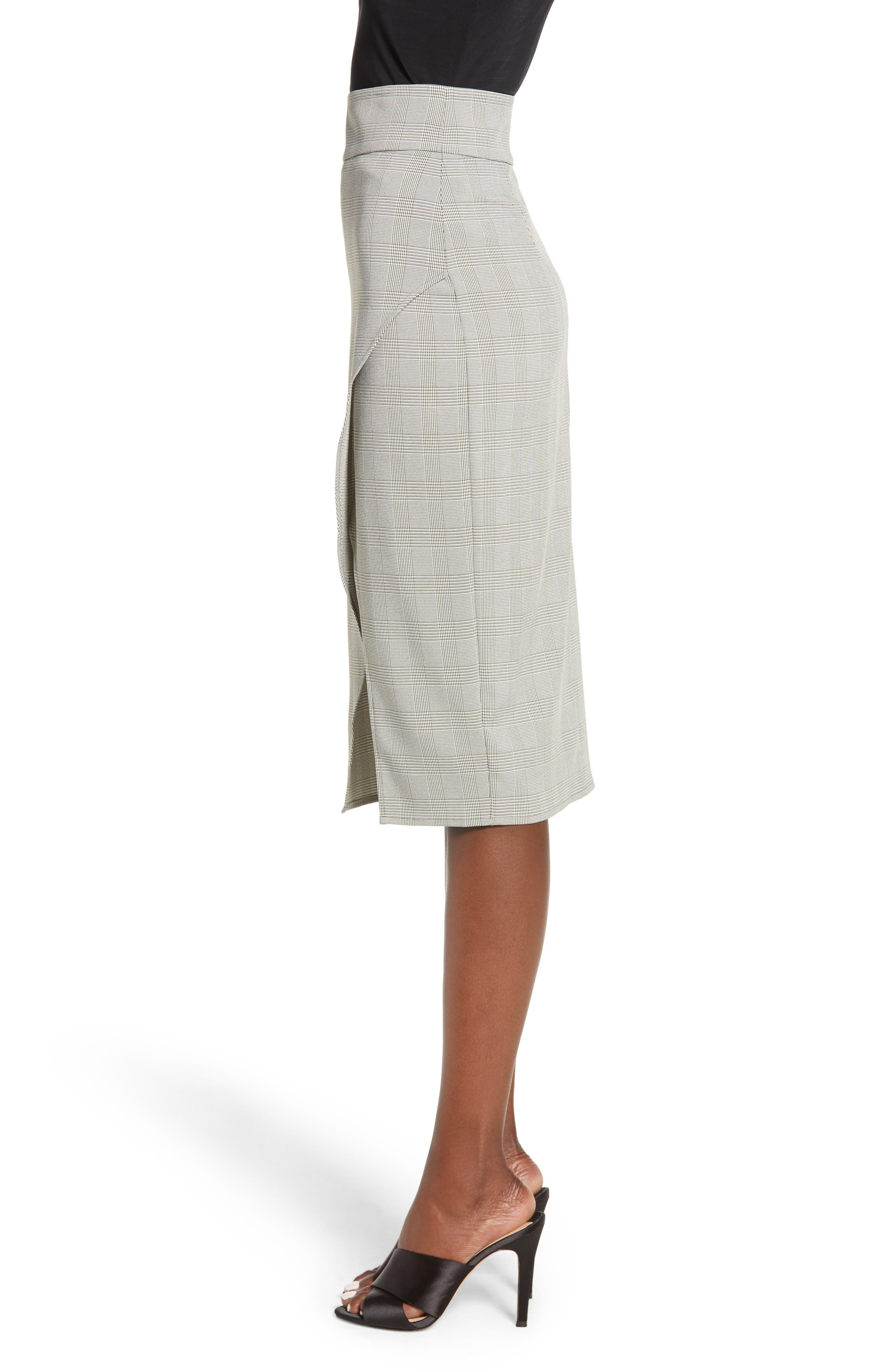 Belmont Faux Wrap Midi Skirt,                             Alternate thumbnail 3, color,                             GREEN TWEED