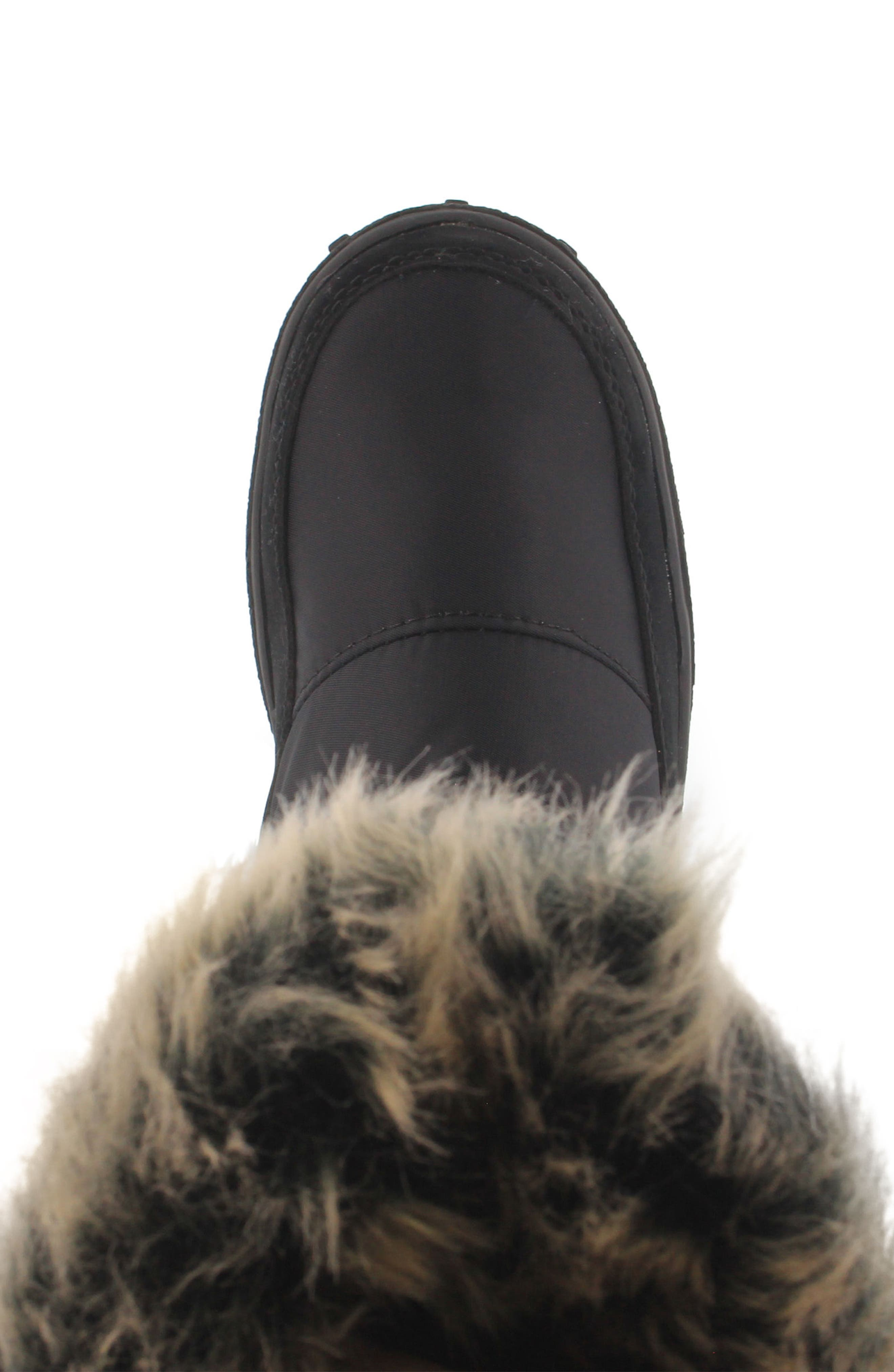 Vanish Faux Fur Trim Waterproof Boot,                             Alternate thumbnail 4, color,                             001